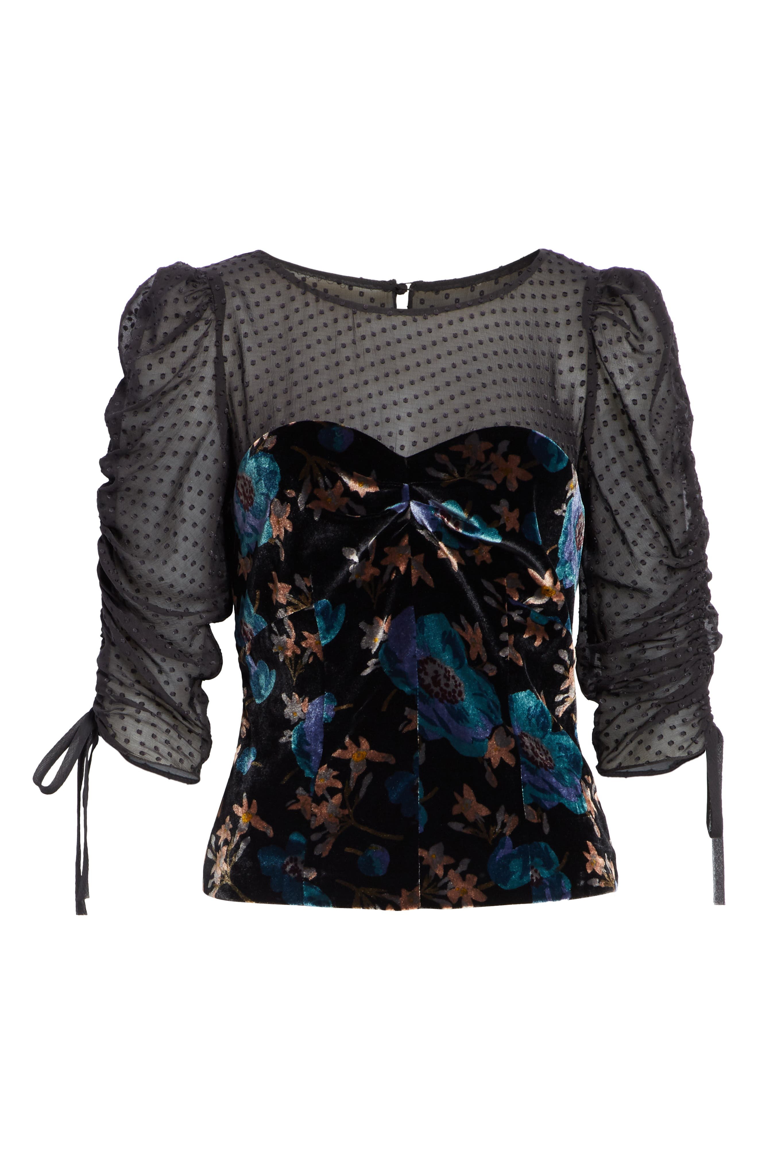 Velvet Illusion Lace Blouse,                             Alternate thumbnail 6, color,                             BLACK COMBO