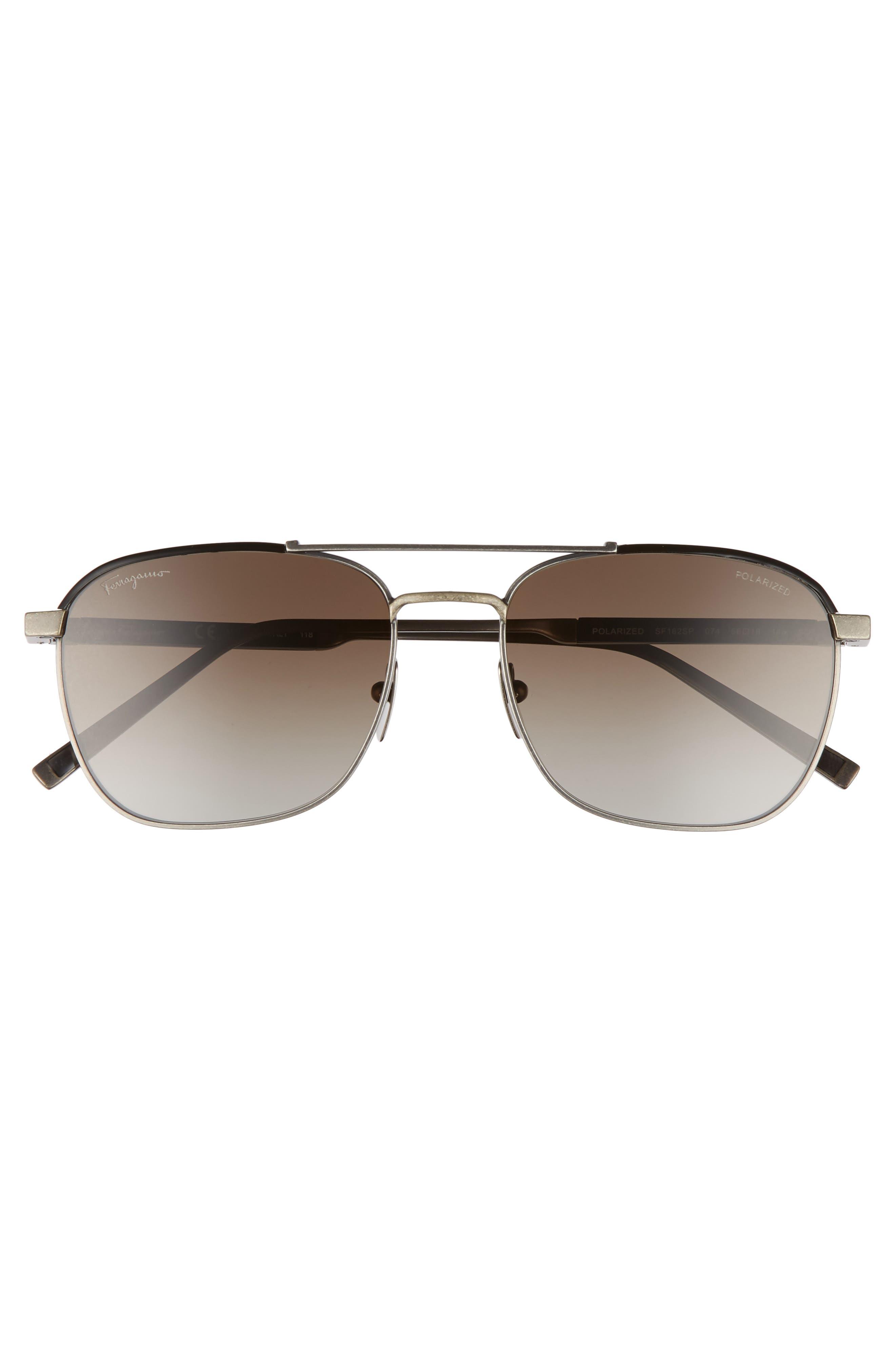 Classic Logo 56mm Polarized Aviator Sunglasses,                             Alternate thumbnail 2, color,                             ANTIQUE RUTHENIUM/ BLACK