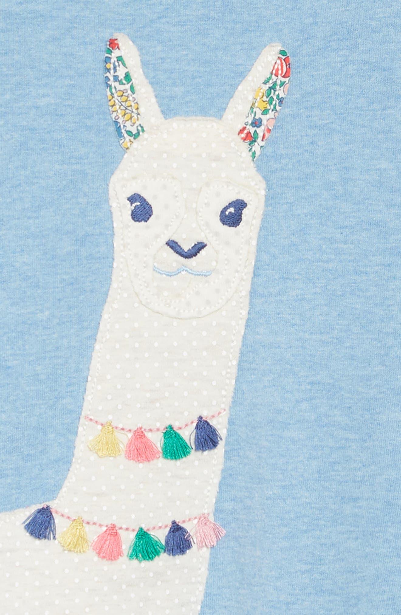 Patchwork Appliqué Dress,                             Alternate thumbnail 3, color,                             BLUE MARL LLAMAS