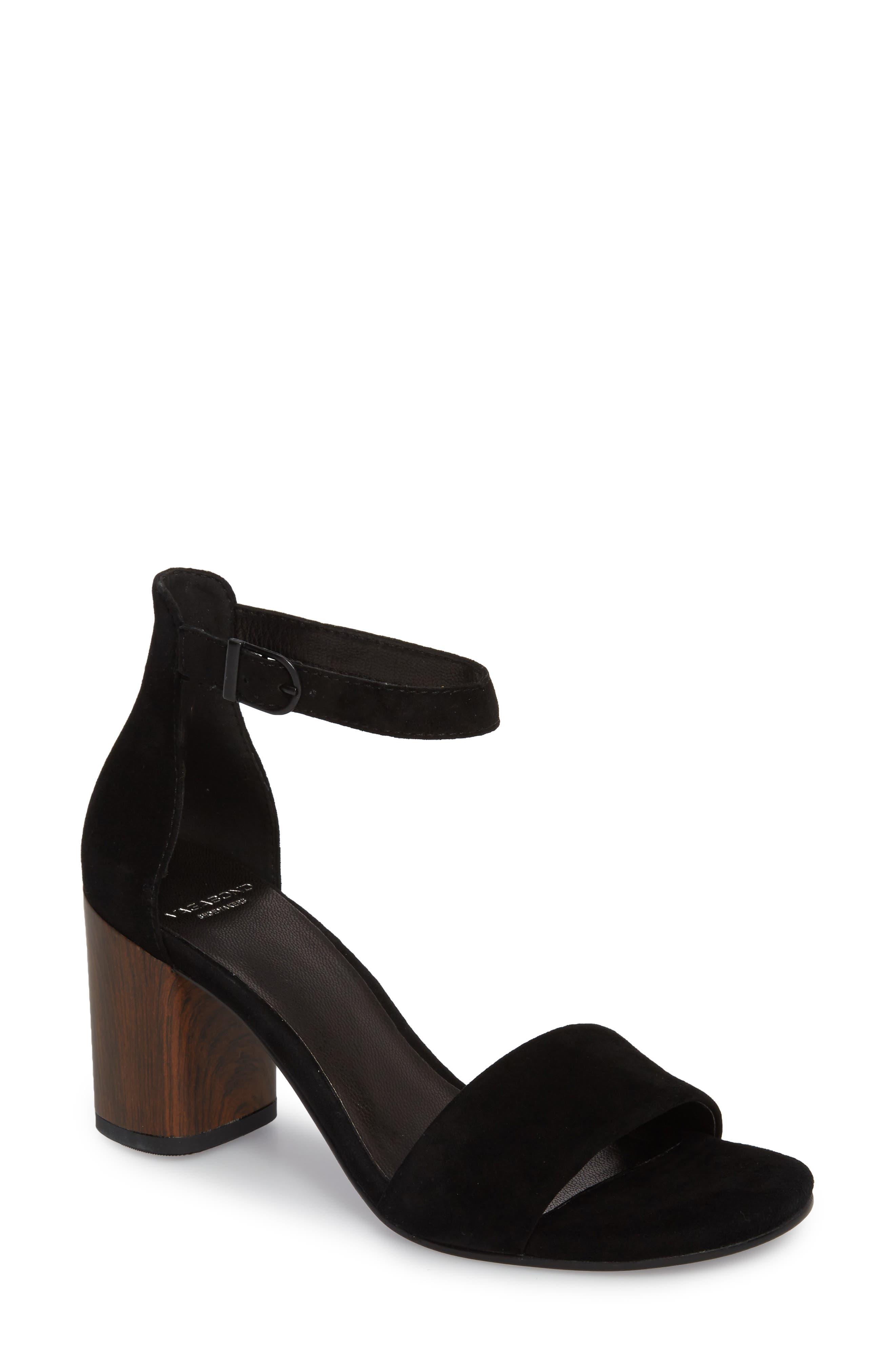Carol Ankle Strap Sandal,                         Main,                         color, BLACK SUEDE
