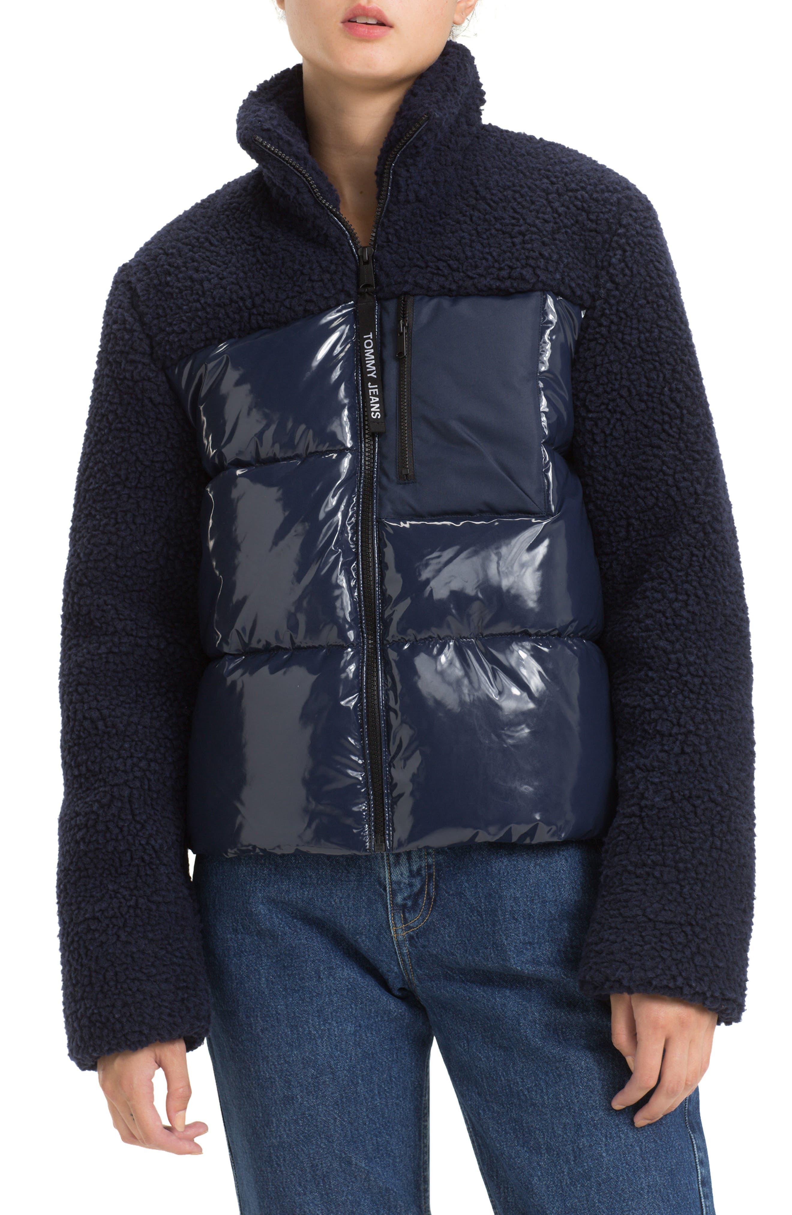 Tommy Jeans Fleece Contrast Puffer Jacket, Blue