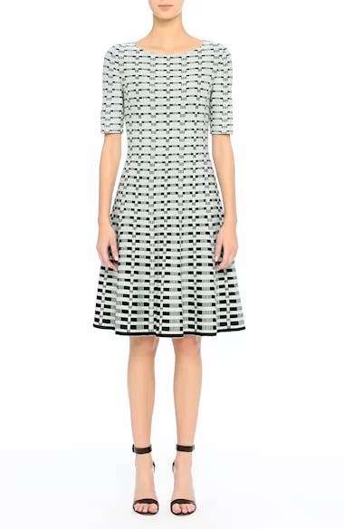 Grid Knit Fit & Flare Dress, video thumbnail
