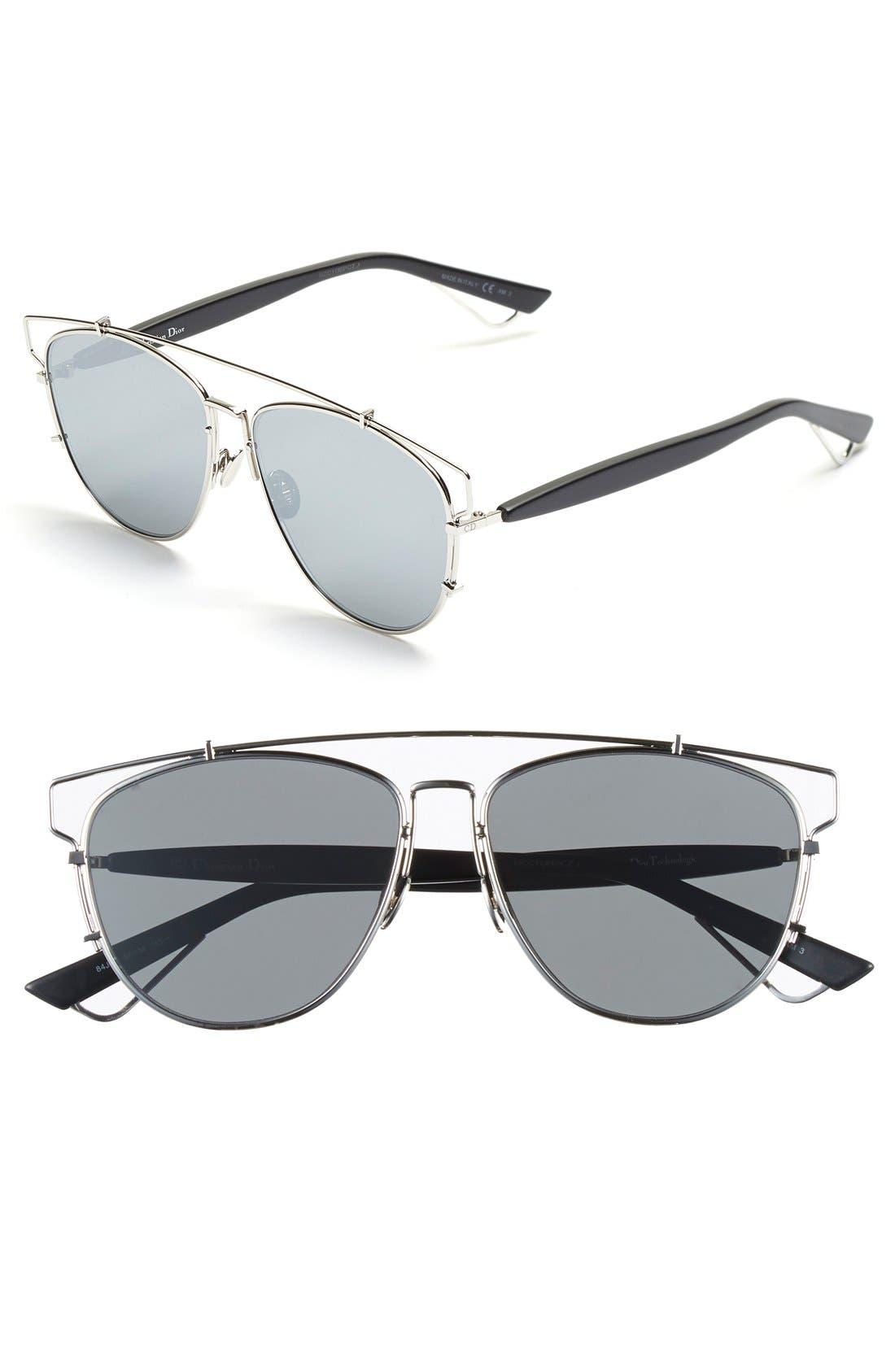 Technologic 57mm Brow Bar Sunglasses,                             Main thumbnail 5, color,