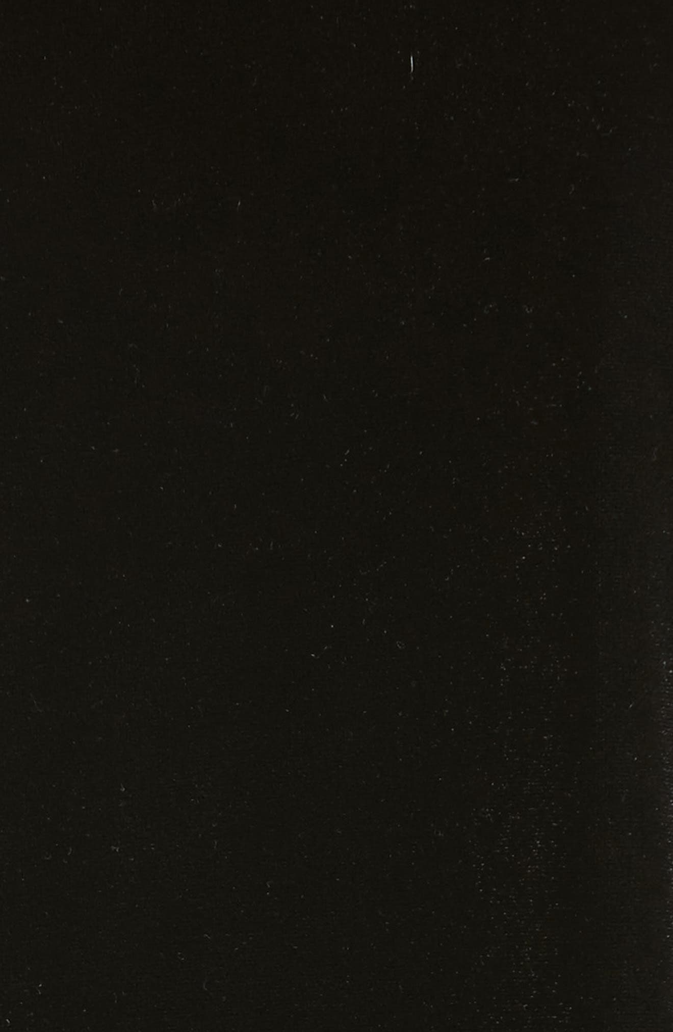 Satin Trim Stretch Velvet Top,                             Alternate thumbnail 5, color,                             001