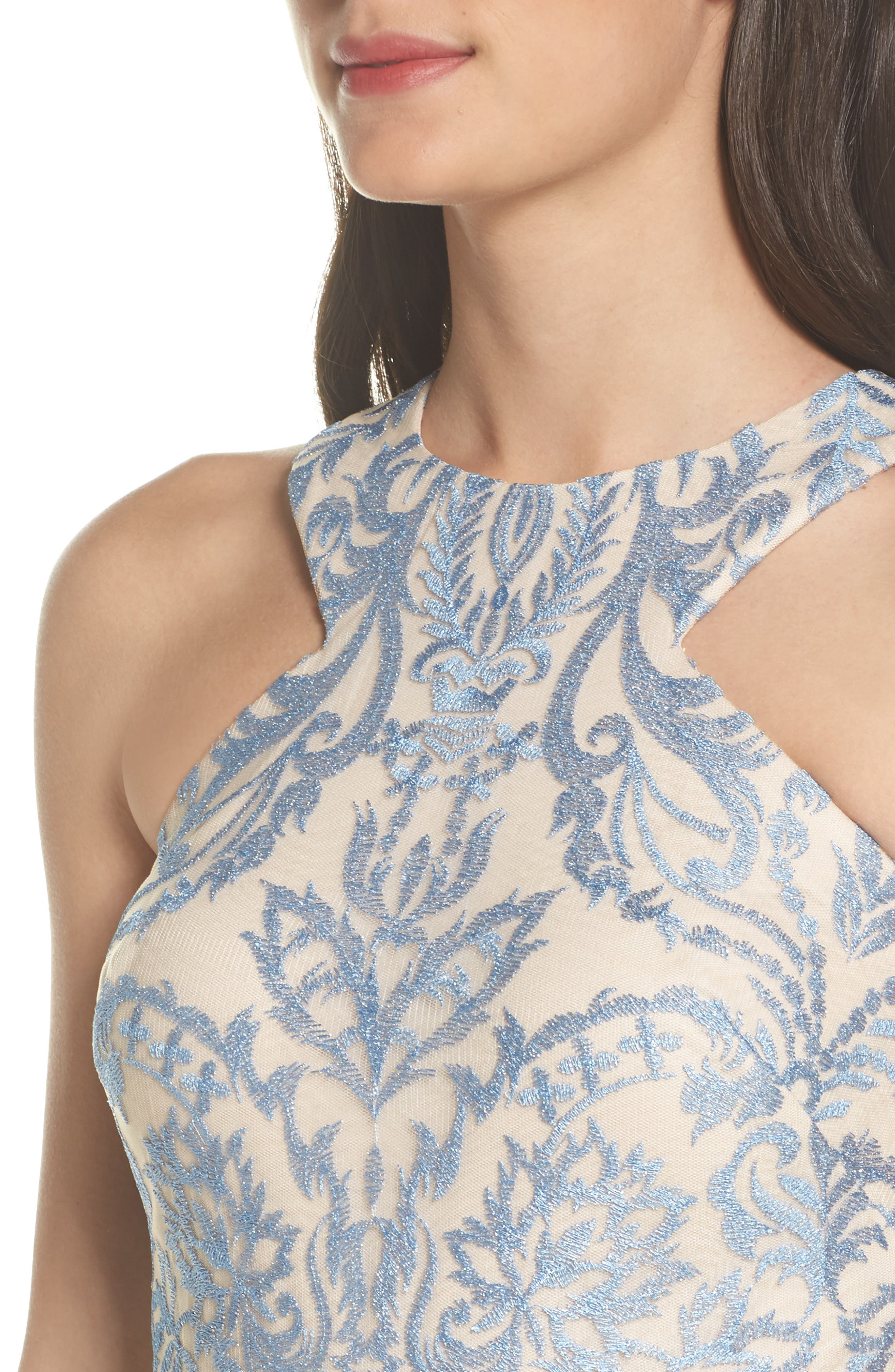 Embroidered Cutaway Bodice Gown,                             Alternate thumbnail 4, color,                             418