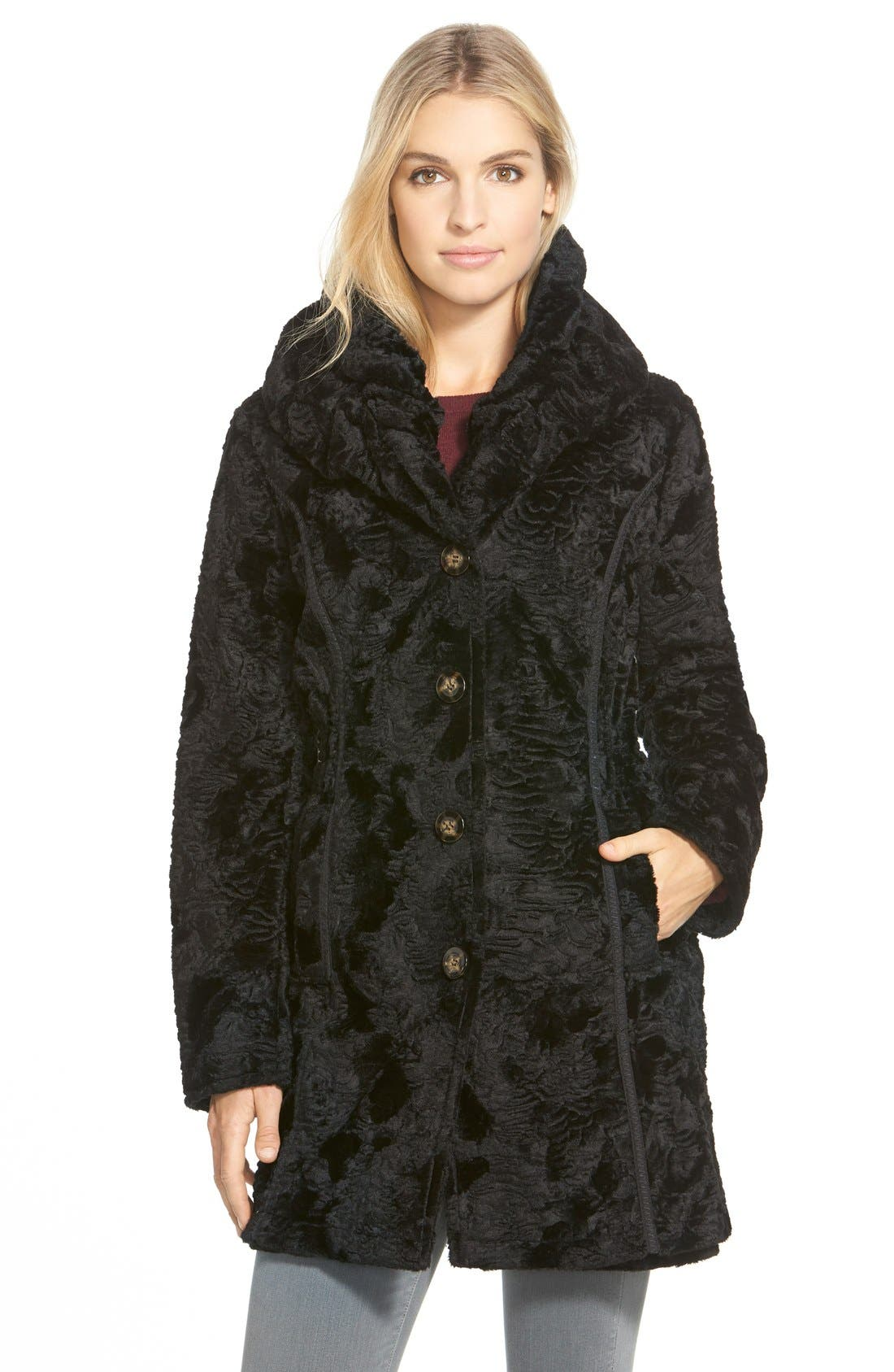Laundry by ShelliSegalReversible FauxPersian Lamb Fur Coat,                         Main,                         color, 001
