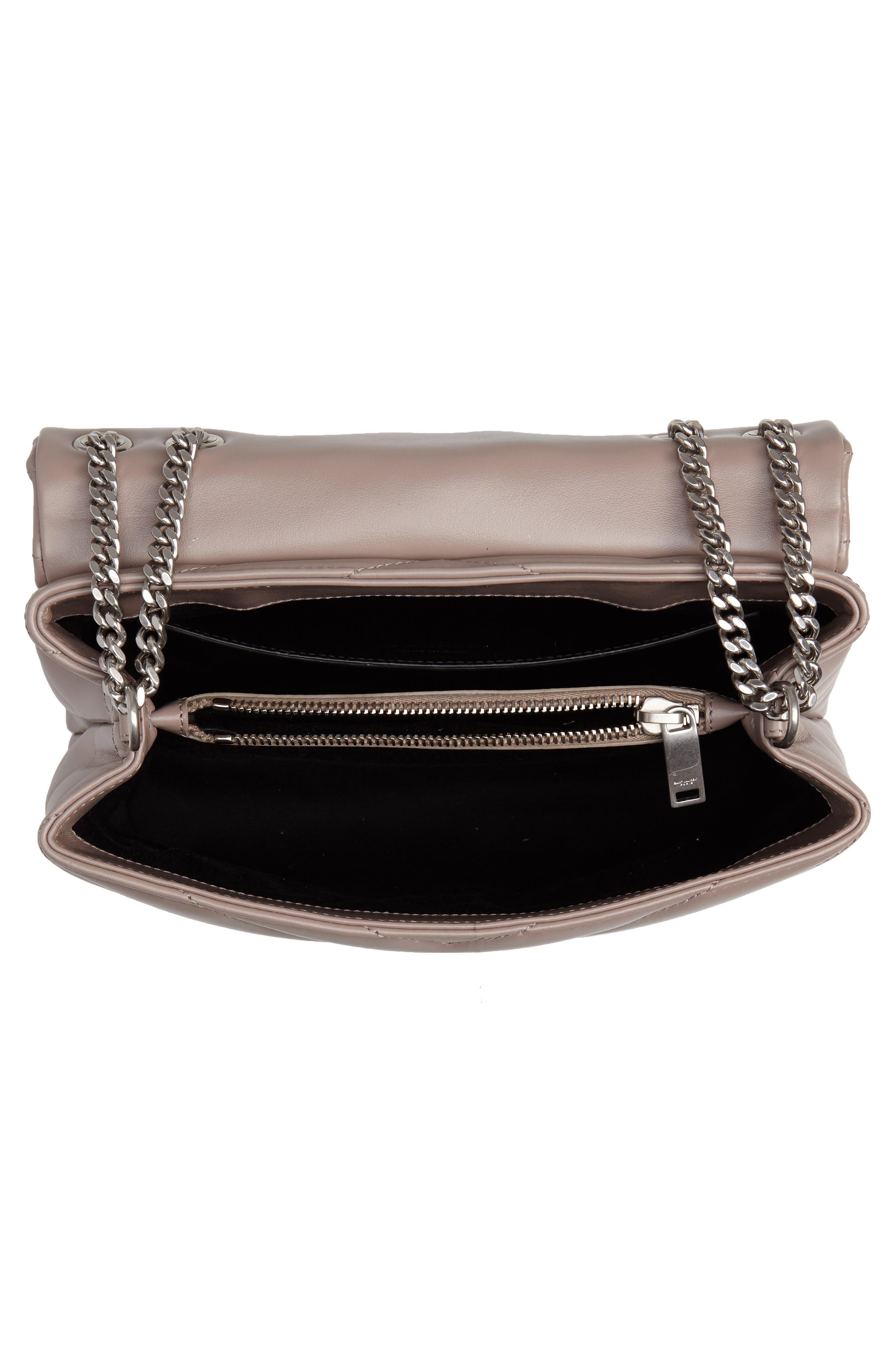 Small Loulou Matelassé Leather Shoulder Bag,                             Alternate thumbnail 4, color,                             TAUPE SABLE