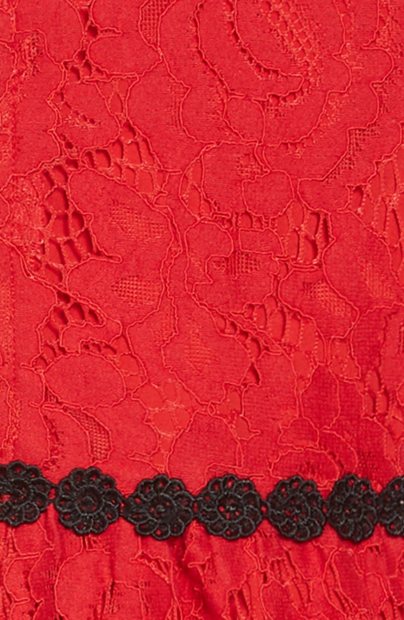 alençon lace party dress,                             Alternate thumbnail 3, color,                             DEEP RED