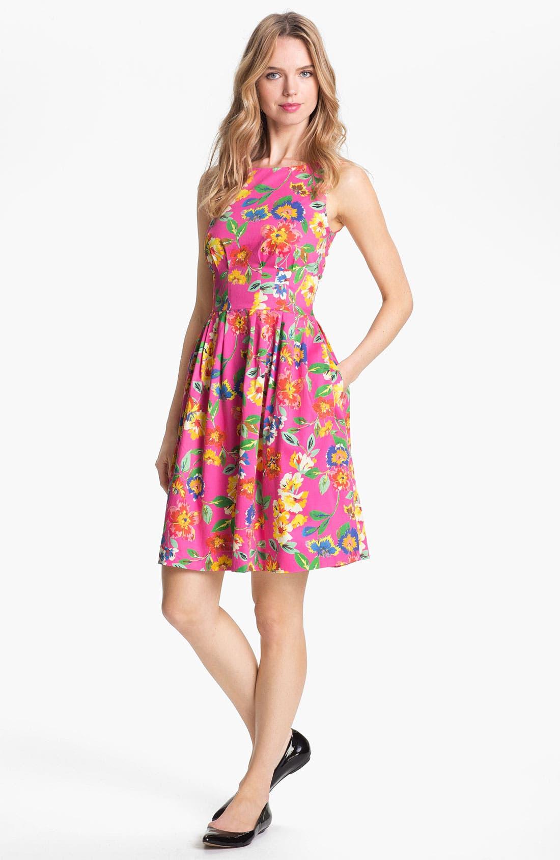 'sonja' stretch cotton fit & flare dress,                             Main thumbnail 1, color,                             650