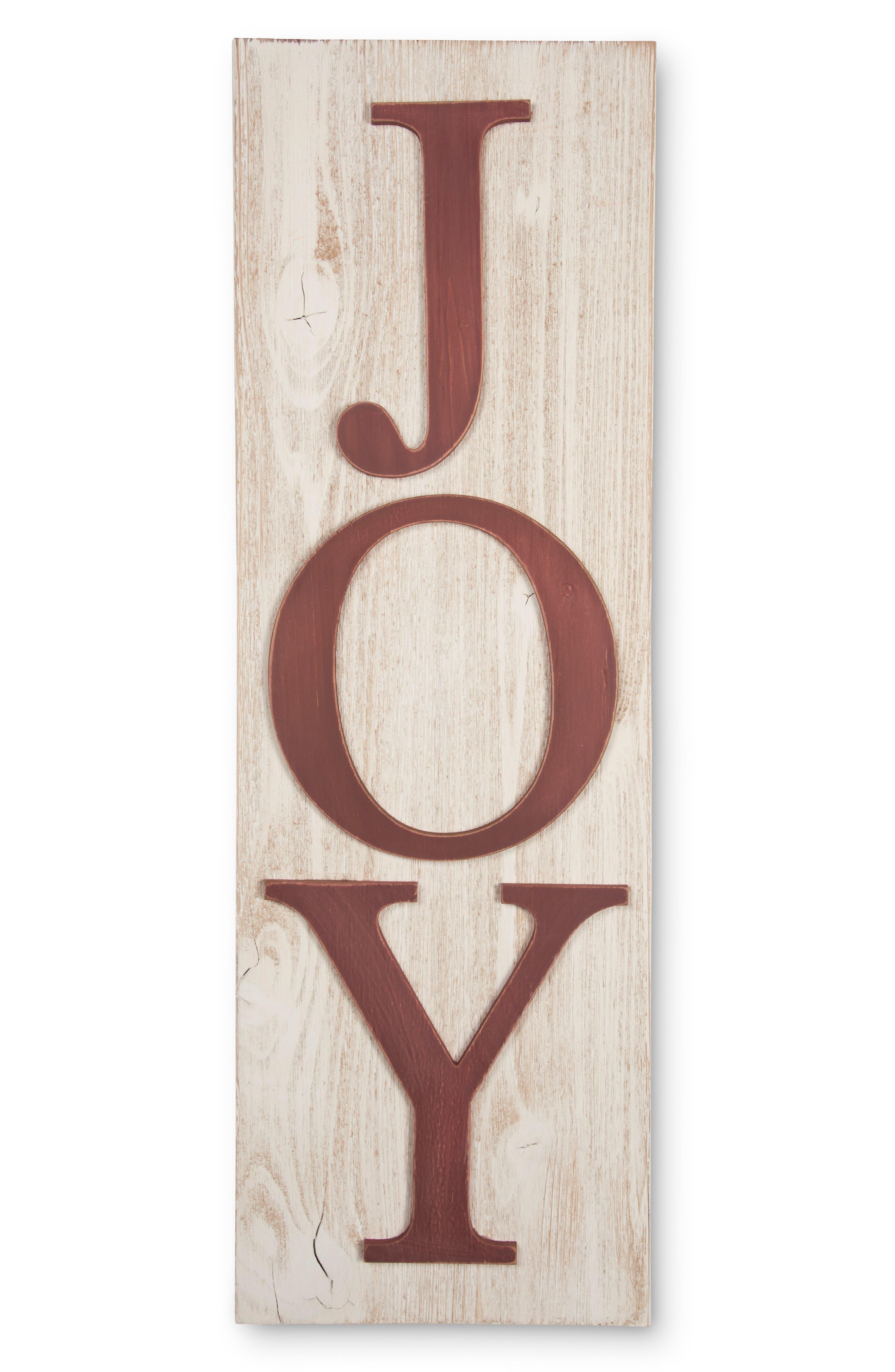 Joy Vertical Wall Sign,                             Main thumbnail 1, color,                             WHITE