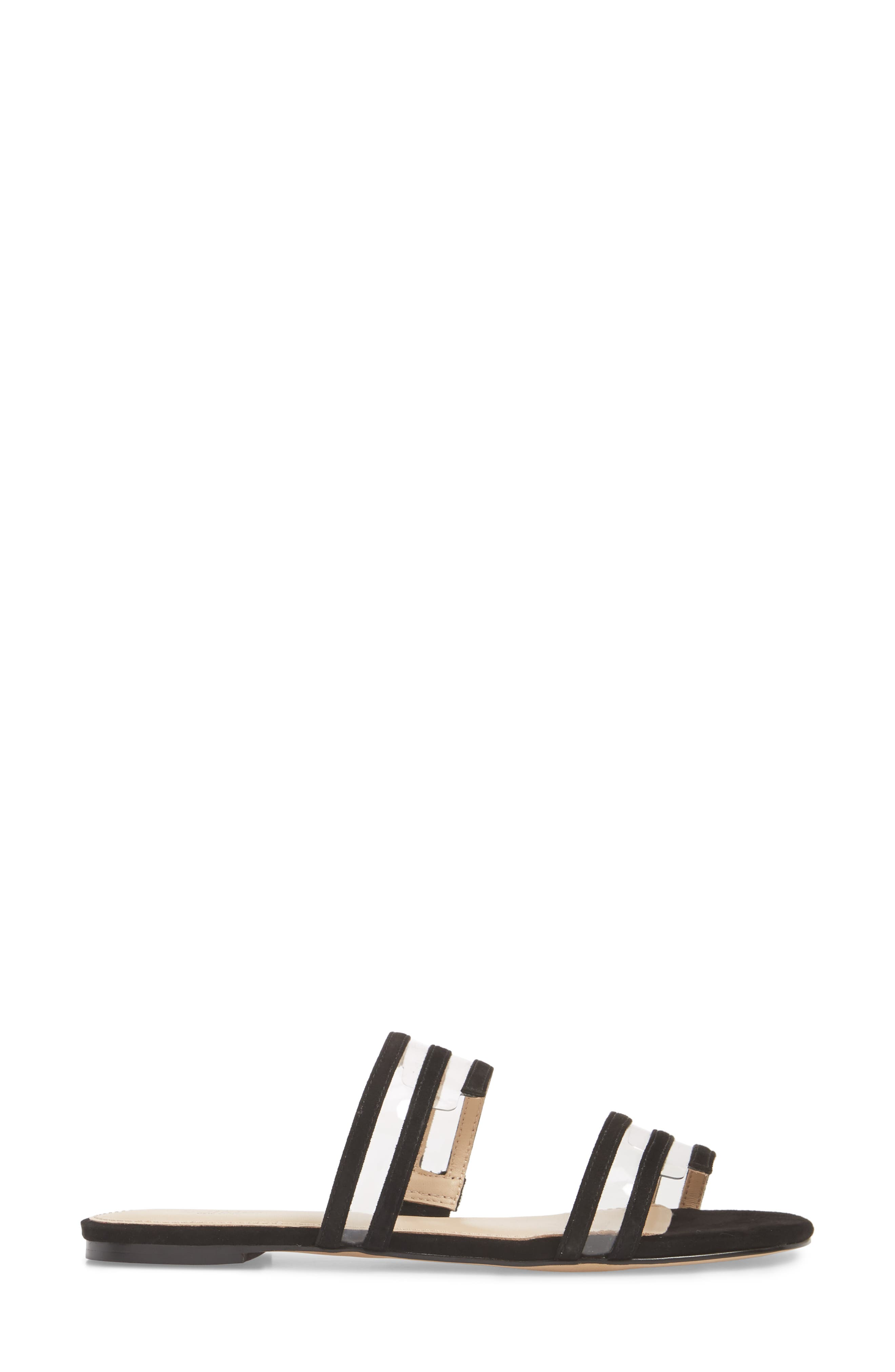 Maise Slide Sandal,                             Alternate thumbnail 3, color,                             BLACK SUEDE