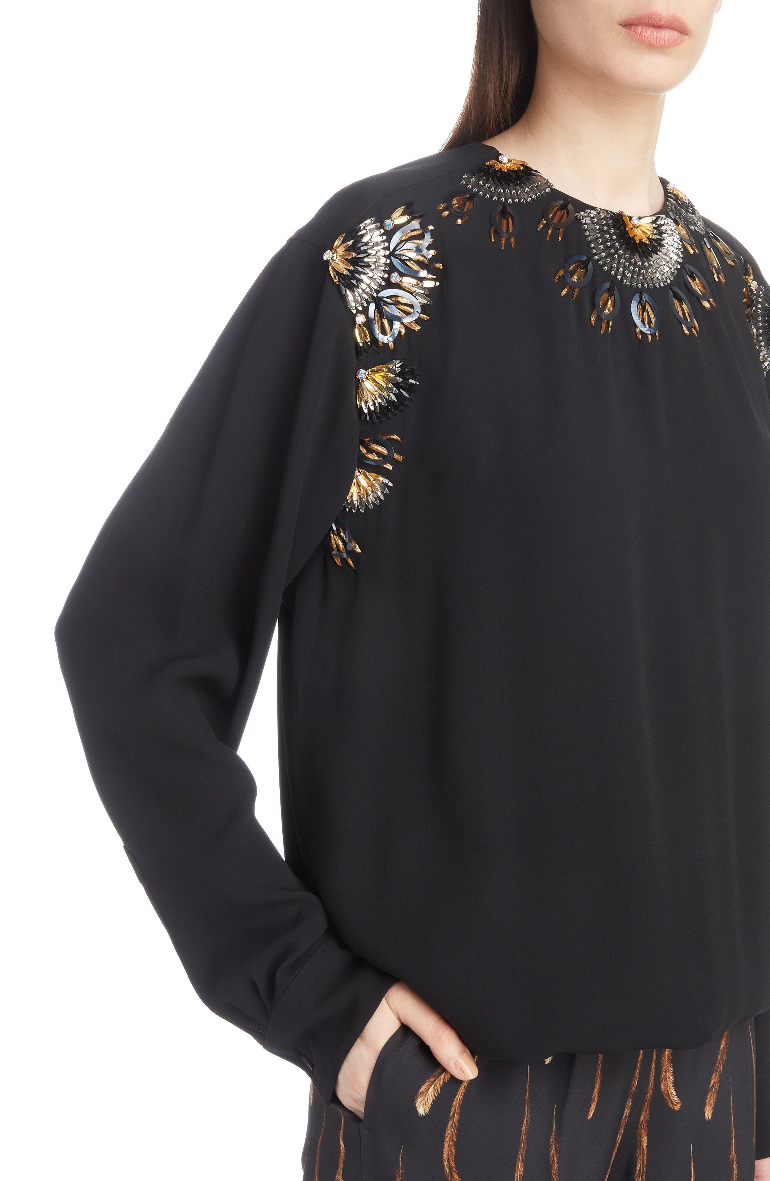 Starburst Embellished Blouse,                             Alternate thumbnail 4, color,                             BLACK