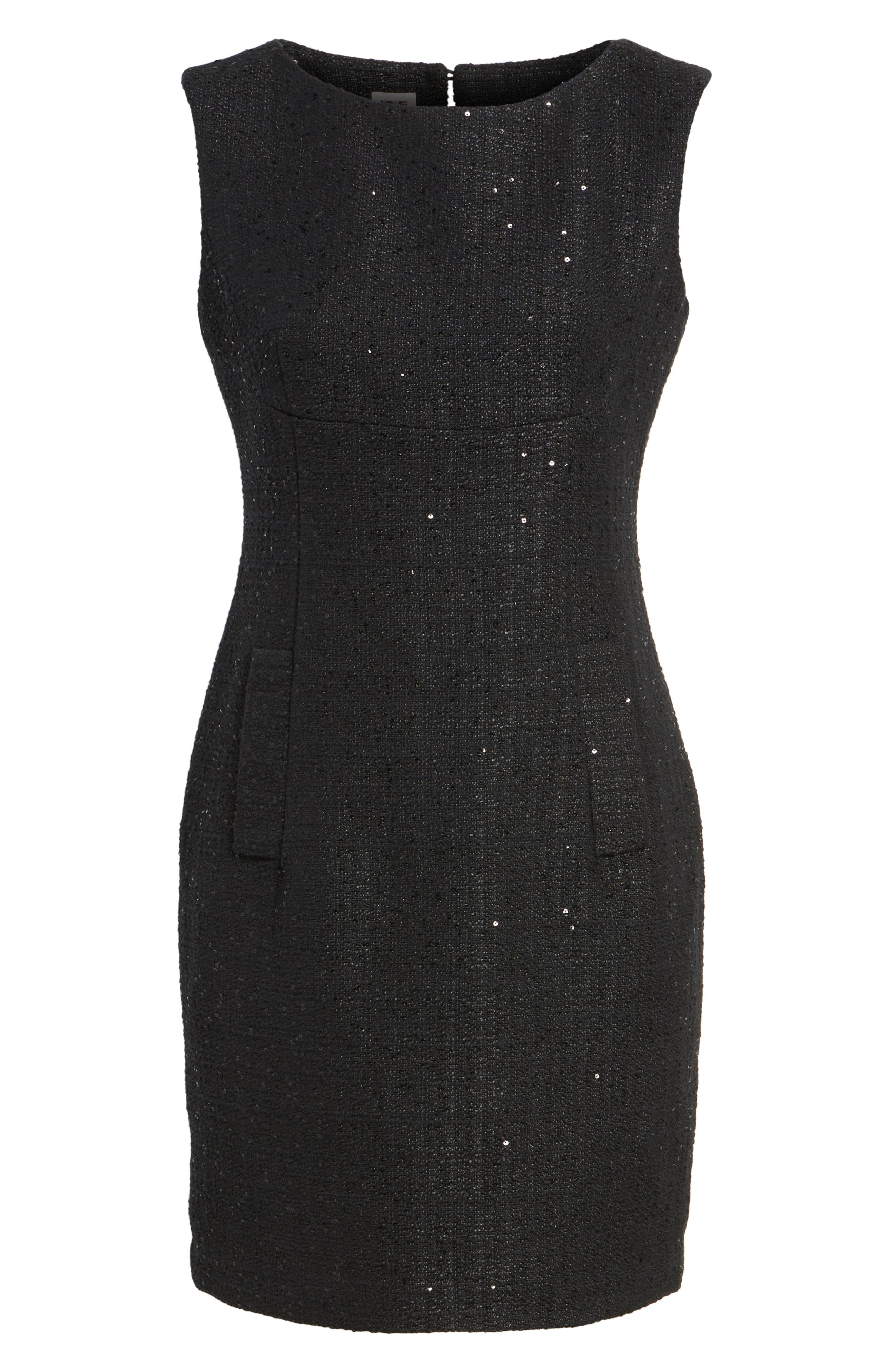 Sequin Tweed Sheath Dress,                             Alternate thumbnail 6, color,                             001