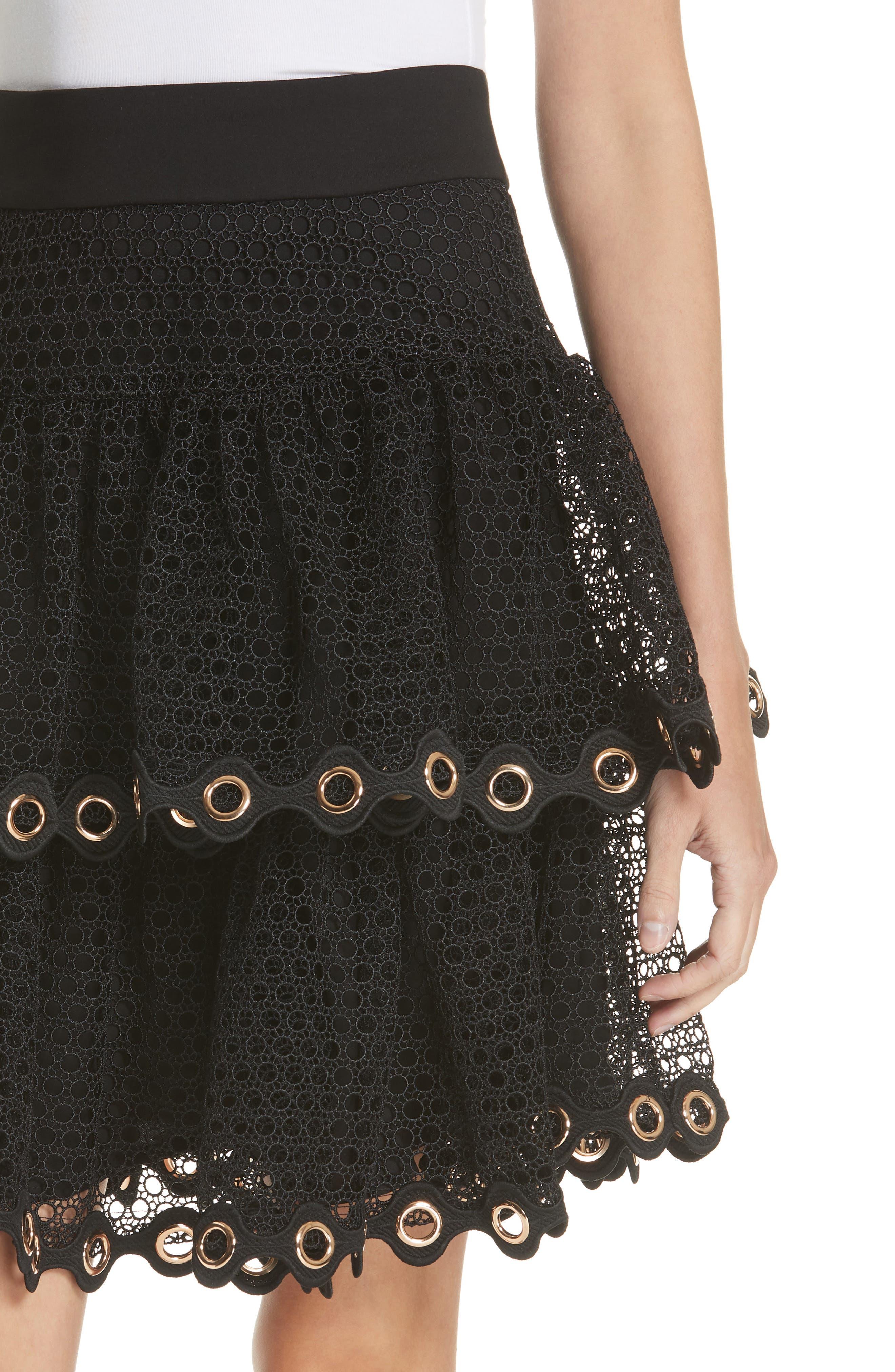 James Tiered Ruffle Grommet Skirt,                             Alternate thumbnail 4, color,