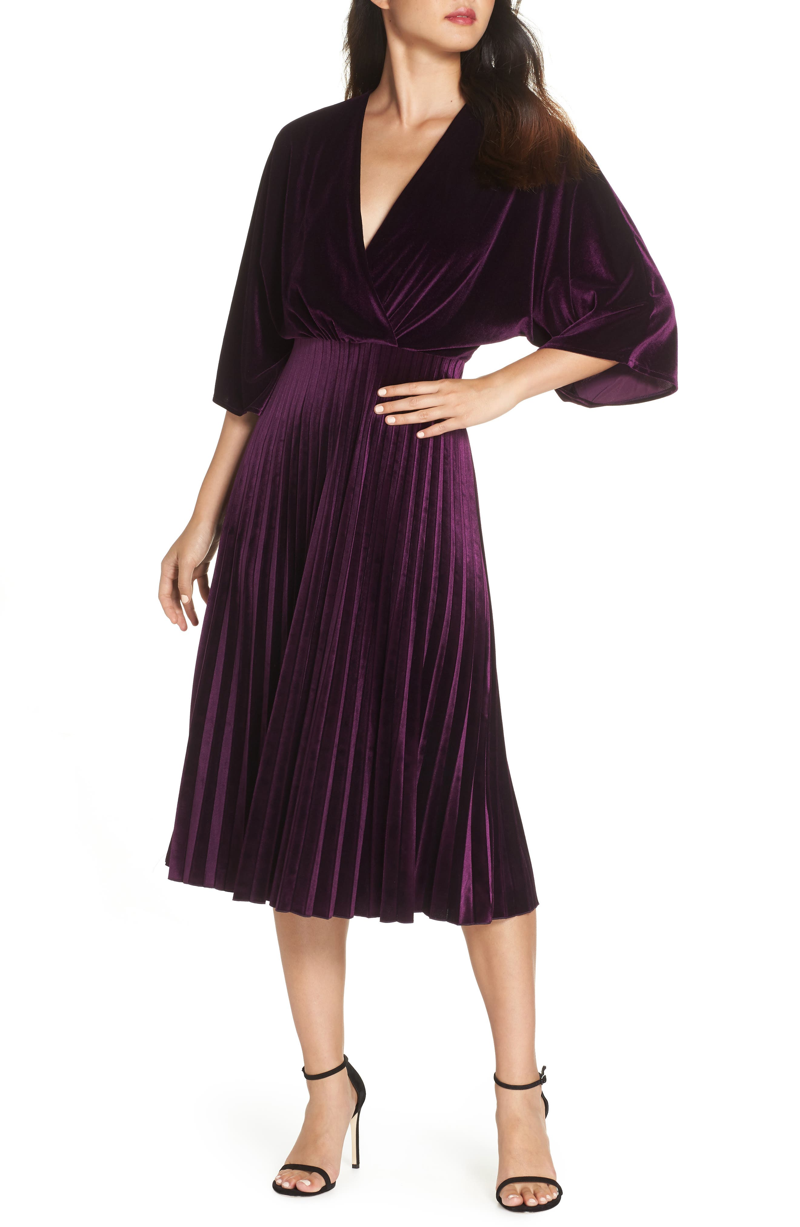 Kimono Pleated Dress,                             Main thumbnail 1, color,                             506