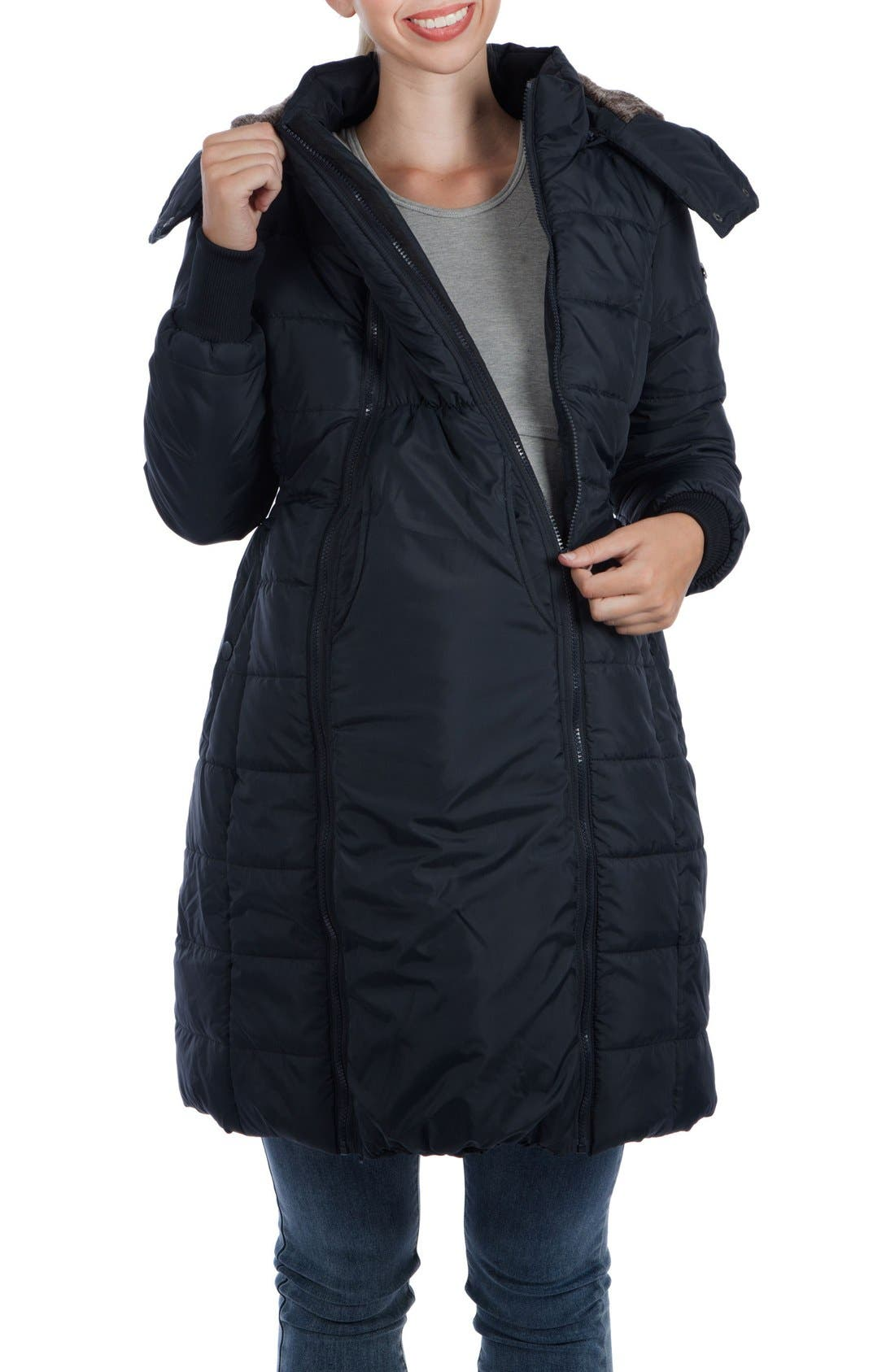 Madison Quilted 3-in-1 Maternity Puffer Coat with Faux Fur Trim,                             Alternate thumbnail 10, color,                             BLACK
