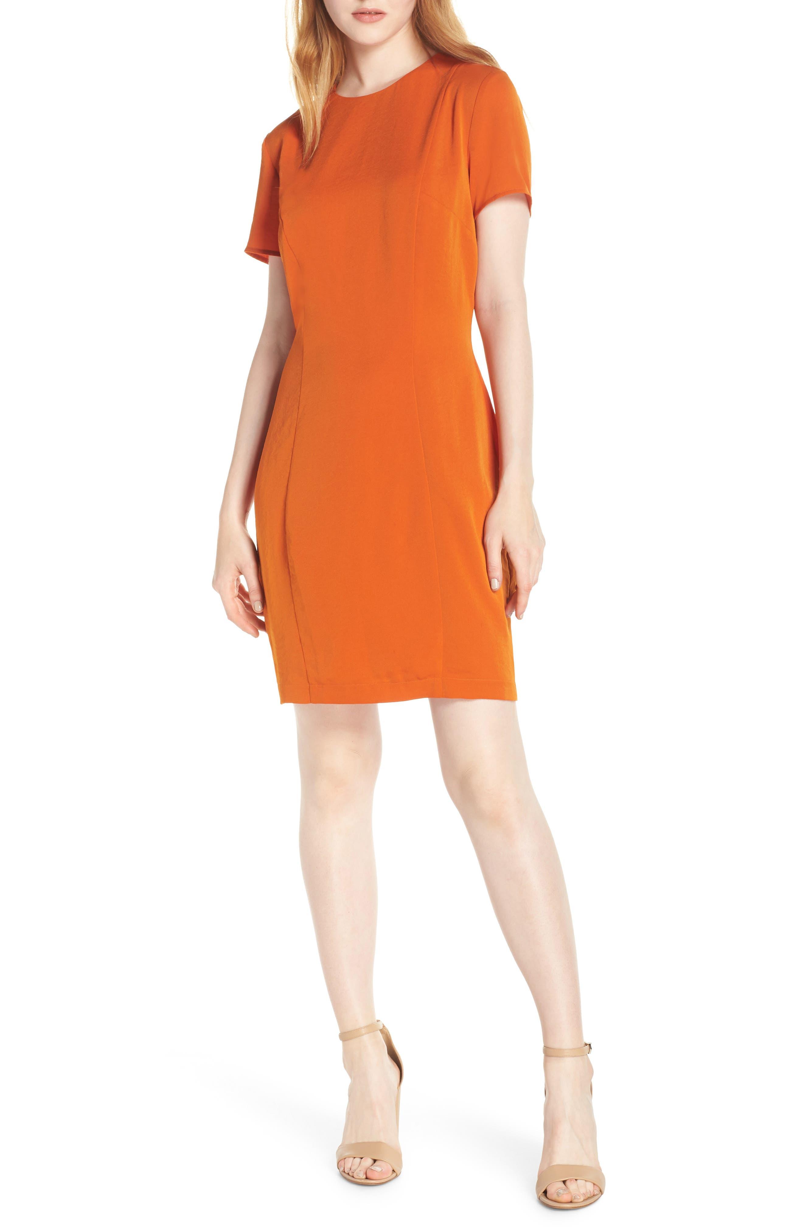 Sofia Short Sleeve Sheath Dress,                             Main thumbnail 1, color,                             ORANGE