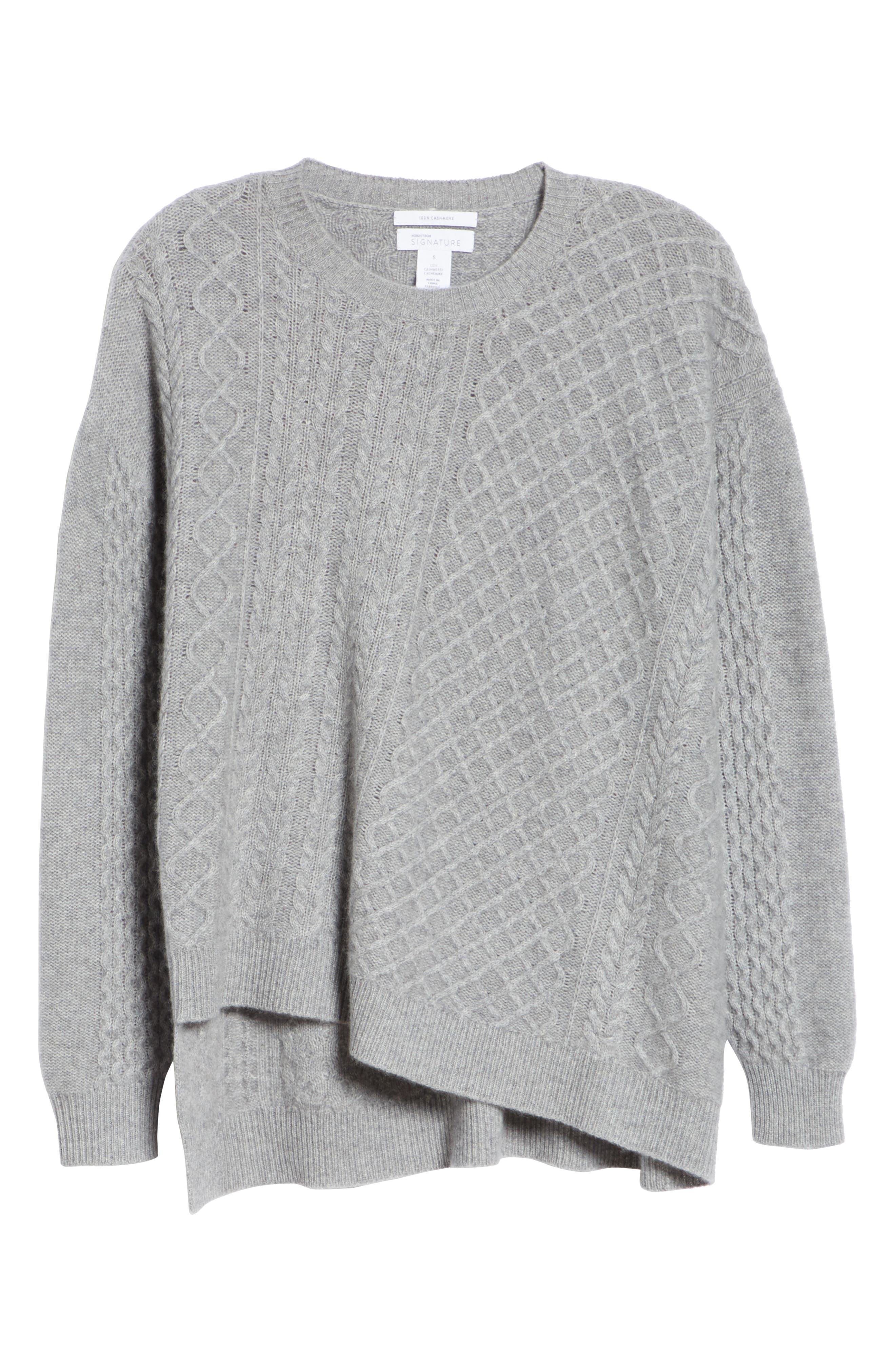 Cable Mix Asymmetrical Cashmere Sweater,                             Alternate thumbnail 6, color,                             GREY FILIGREE HR
