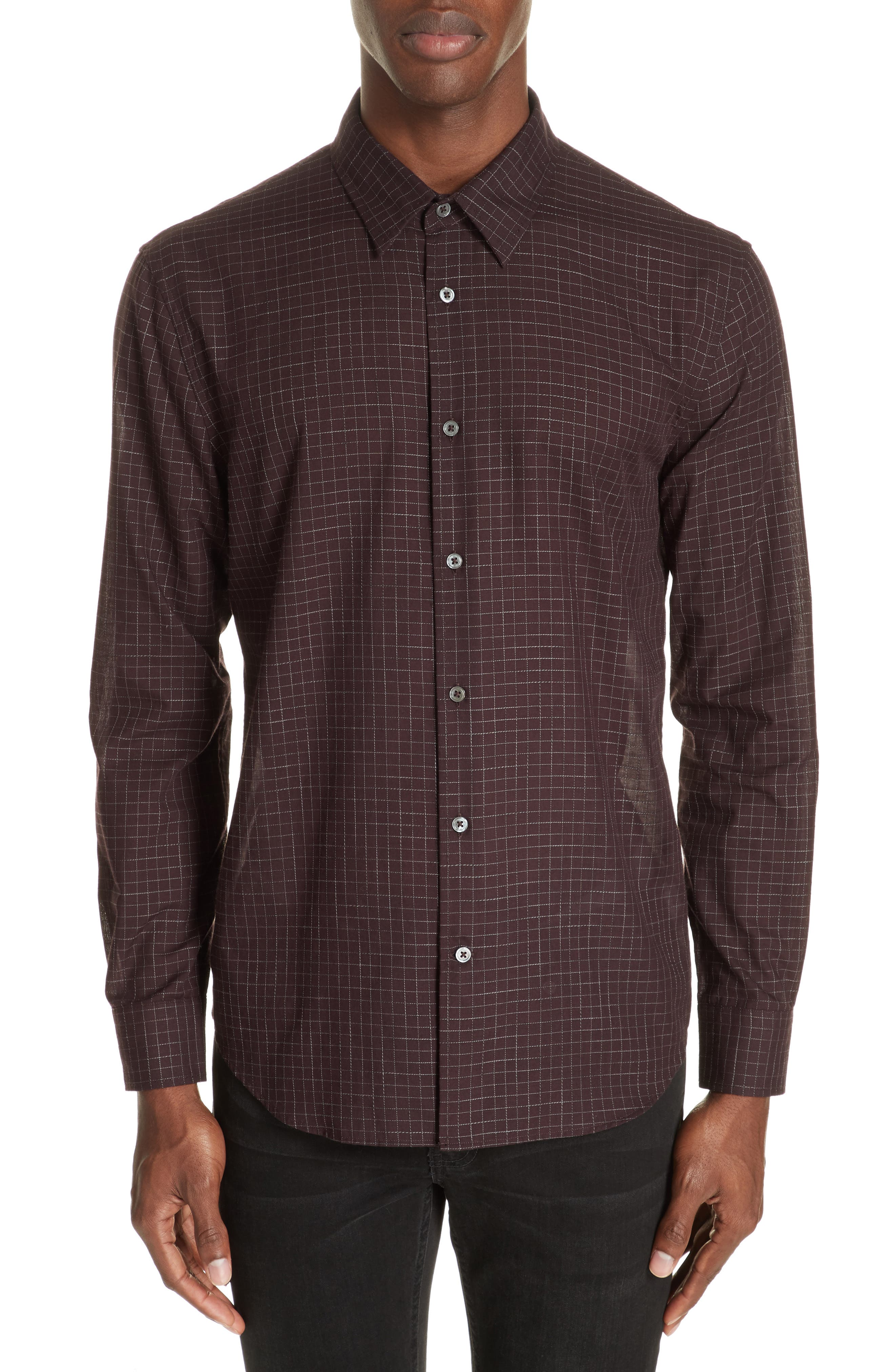 Windowpane Check Sport Shirt,                         Main,                         color, BORDEAUX