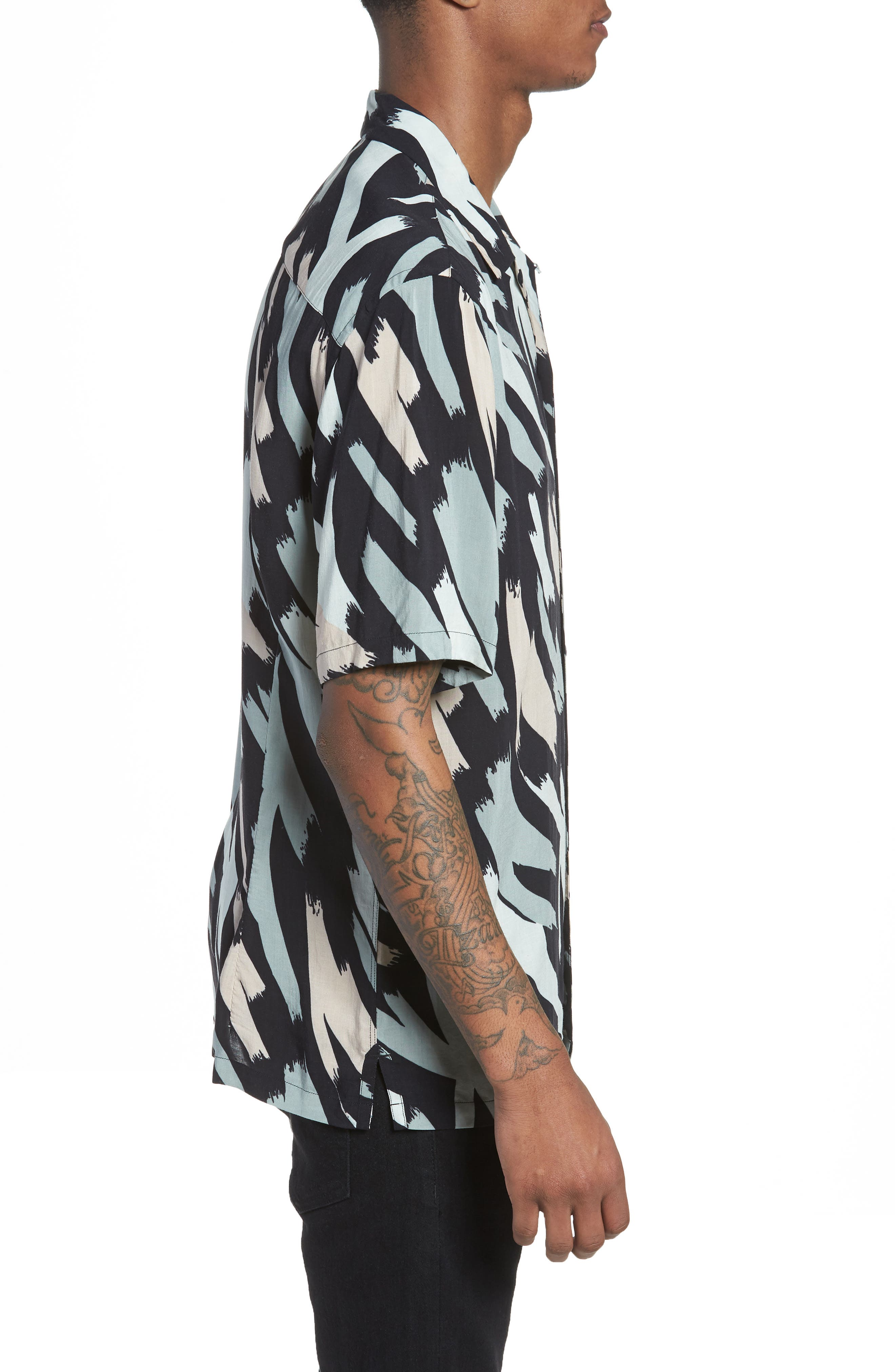 Rope Slim Fit Short Sleeve Sport Shirt,                             Alternate thumbnail 3, color,                             001