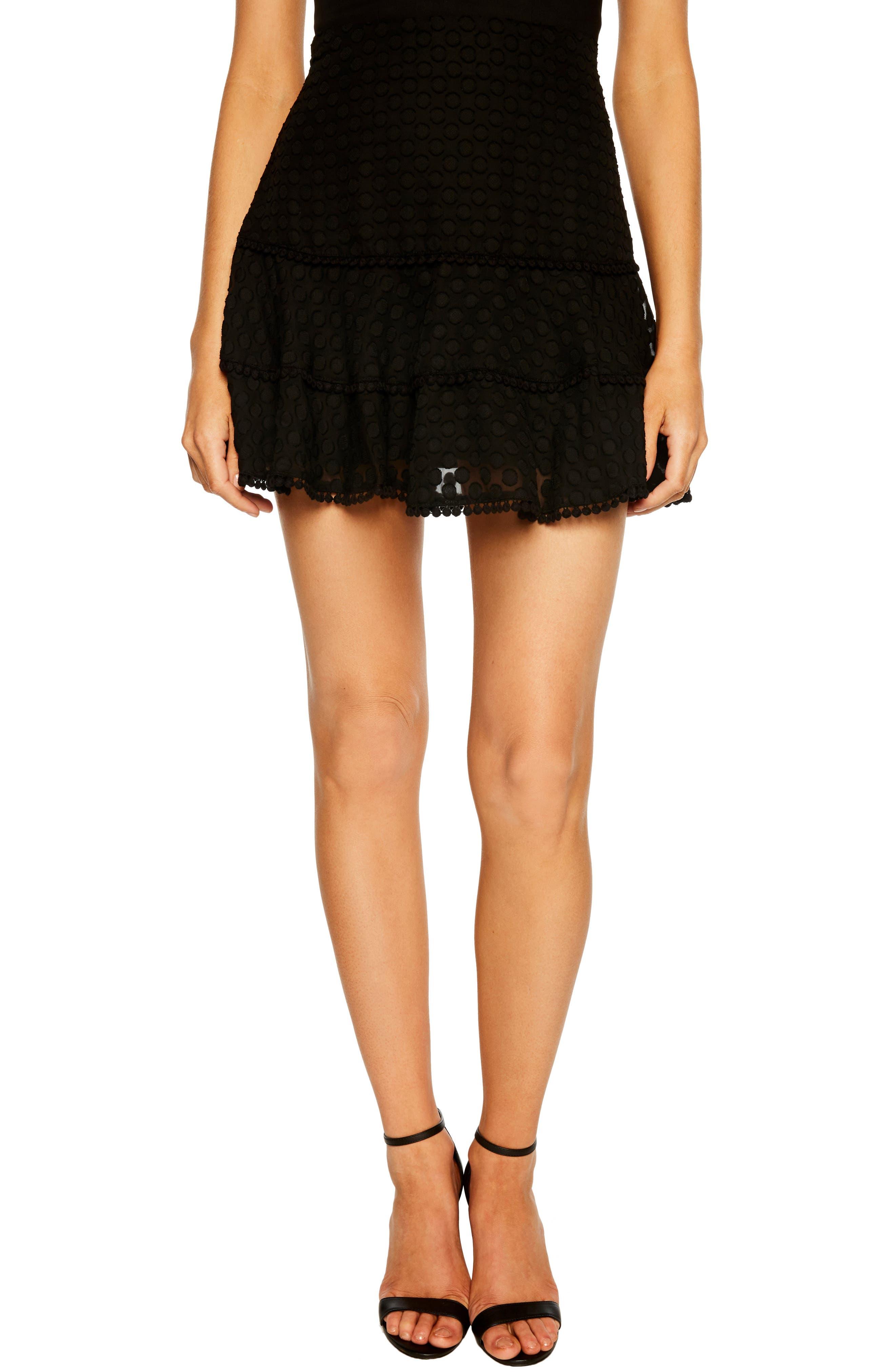 Anna Pompom Trim Miniskirt,                             Main thumbnail 1, color,                             BLACK