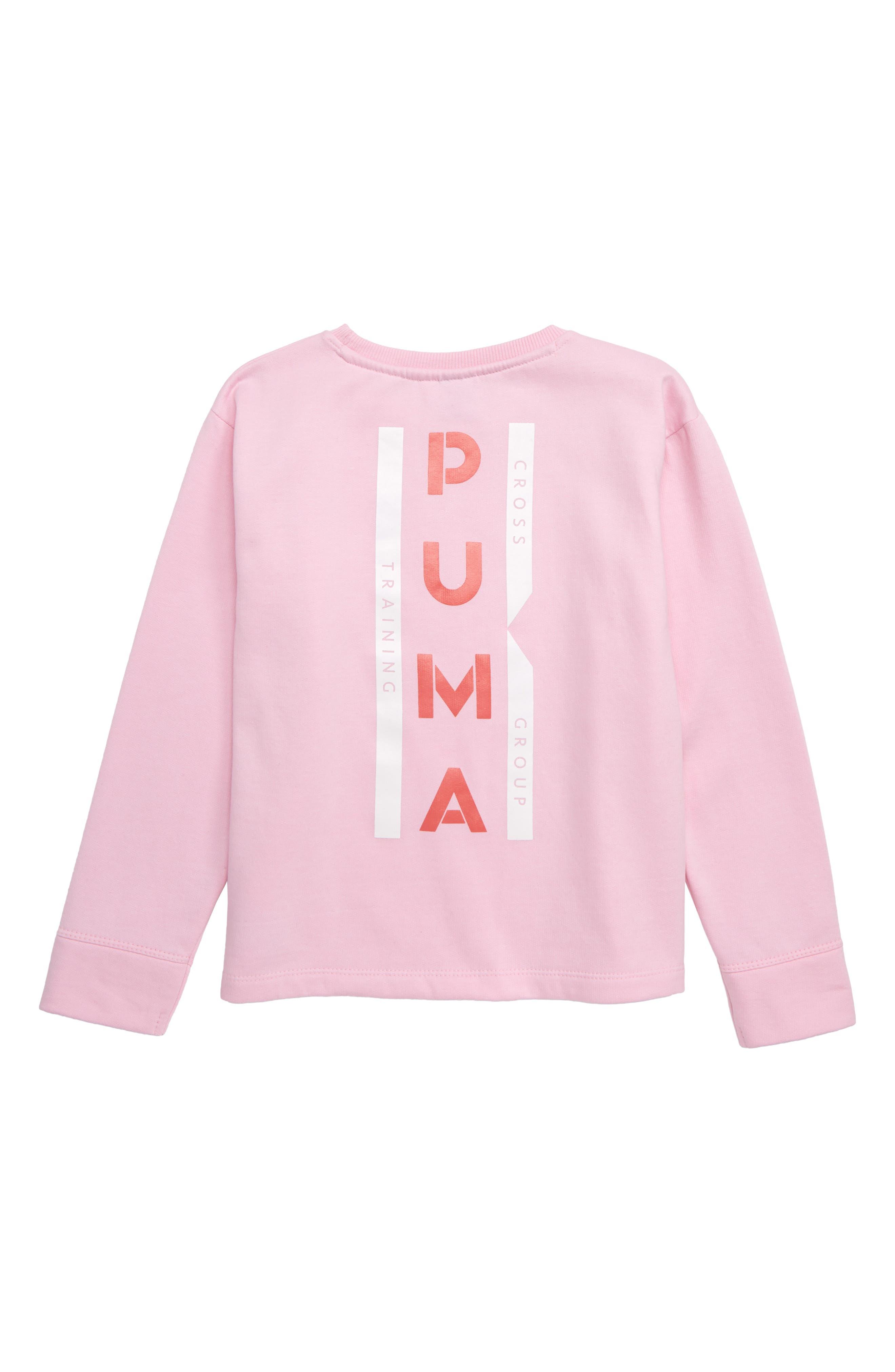 PUMA,                             Oversize Fleece Pullover,                             Alternate thumbnail 2, color,                             PALE PINK