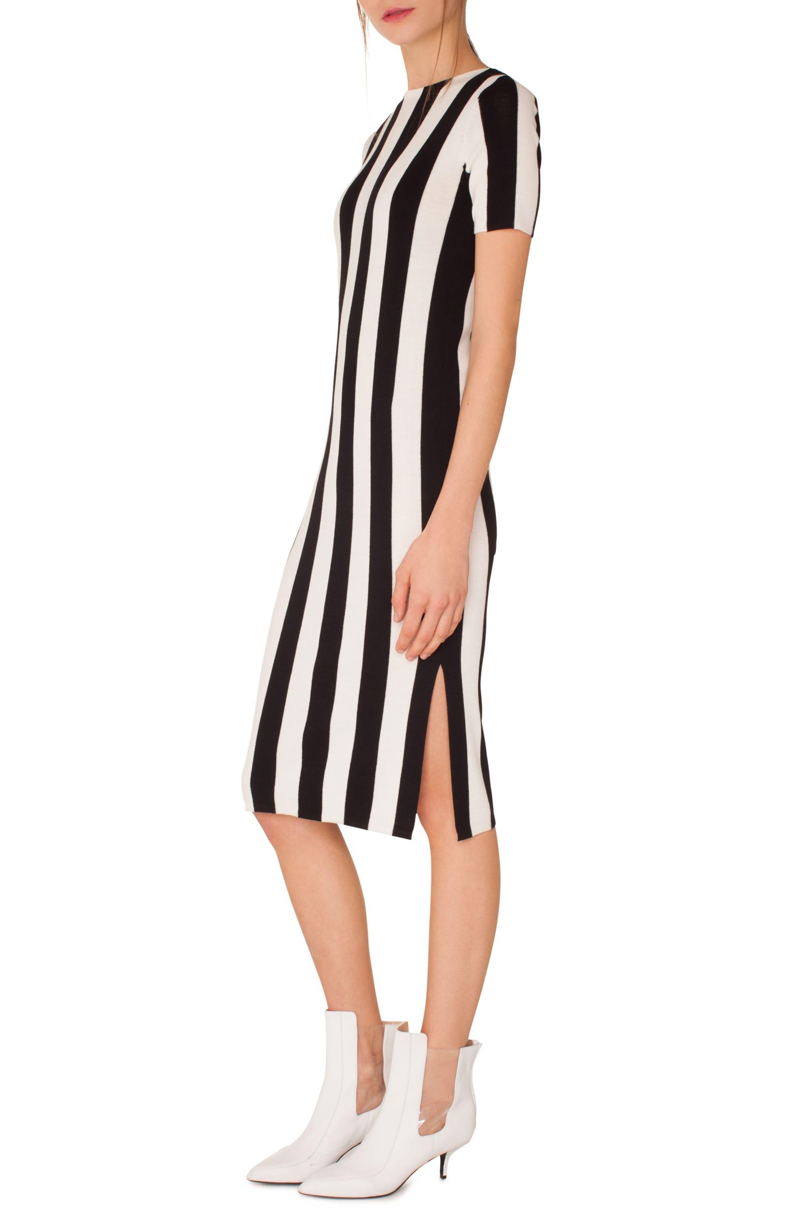 Kodak Stripe Knit Wool Midi Dress,                             Alternate thumbnail 3, color,                             BLACK-CREAM