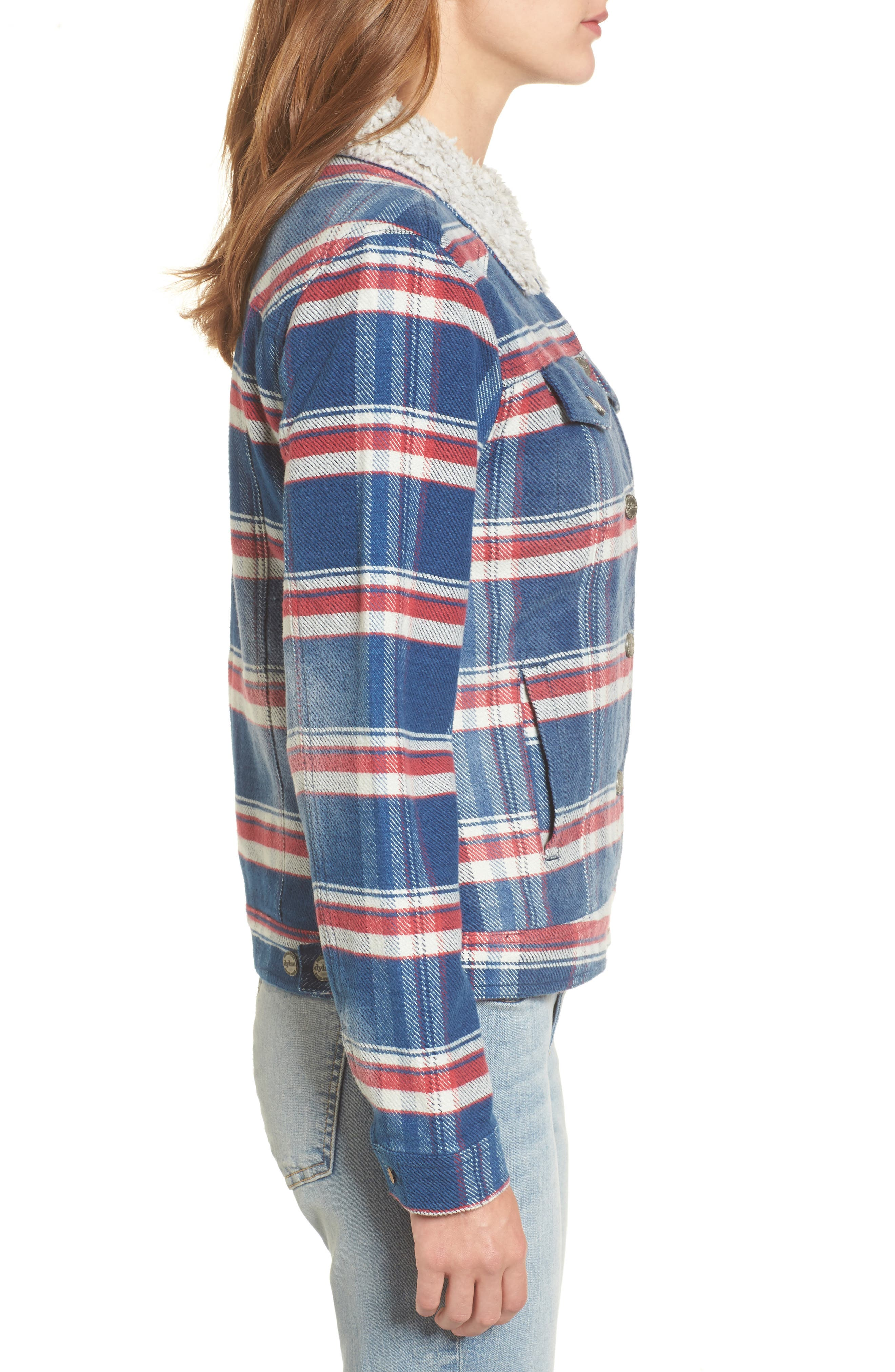 Ella Plaid Denim Jacket with Faux Shearling Collar,                             Alternate thumbnail 3, color,                             479