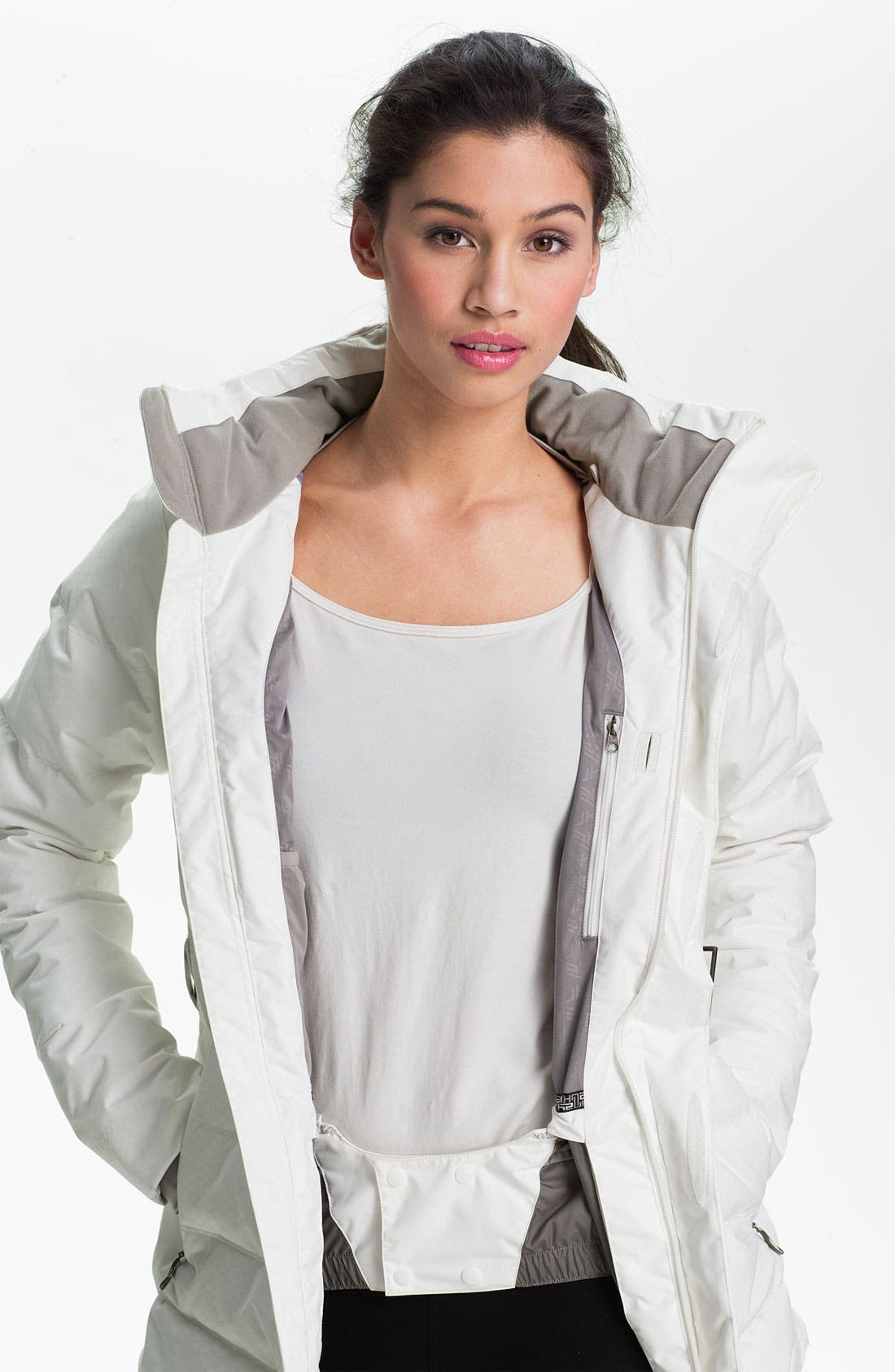 'Greta' Belted Down Jacket,                             Alternate thumbnail 4, color,                             100