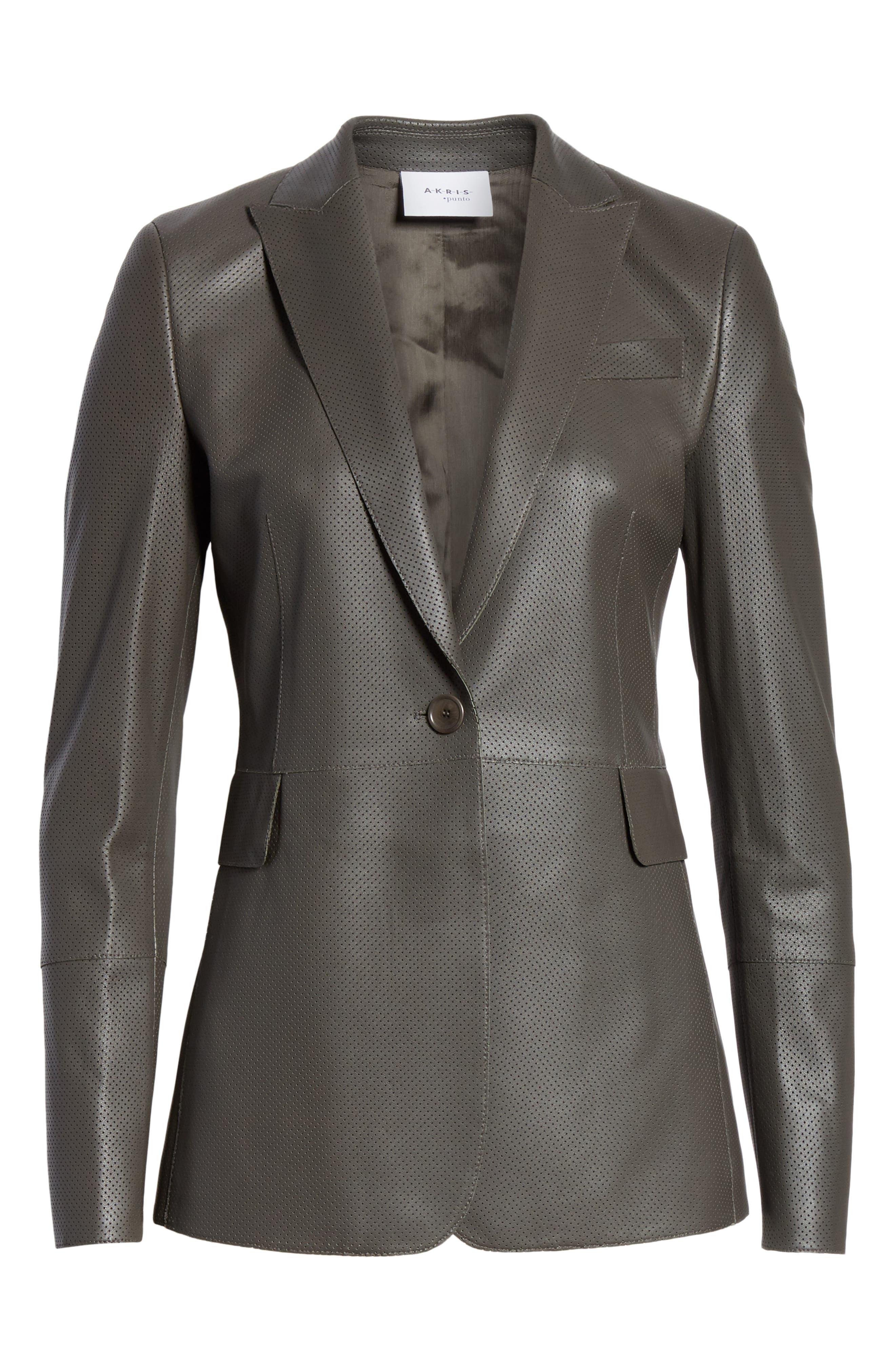 AKRIS PUNTO,                             Perforated Leather Blazer,                             Alternate thumbnail 3, color,                             OLIVA