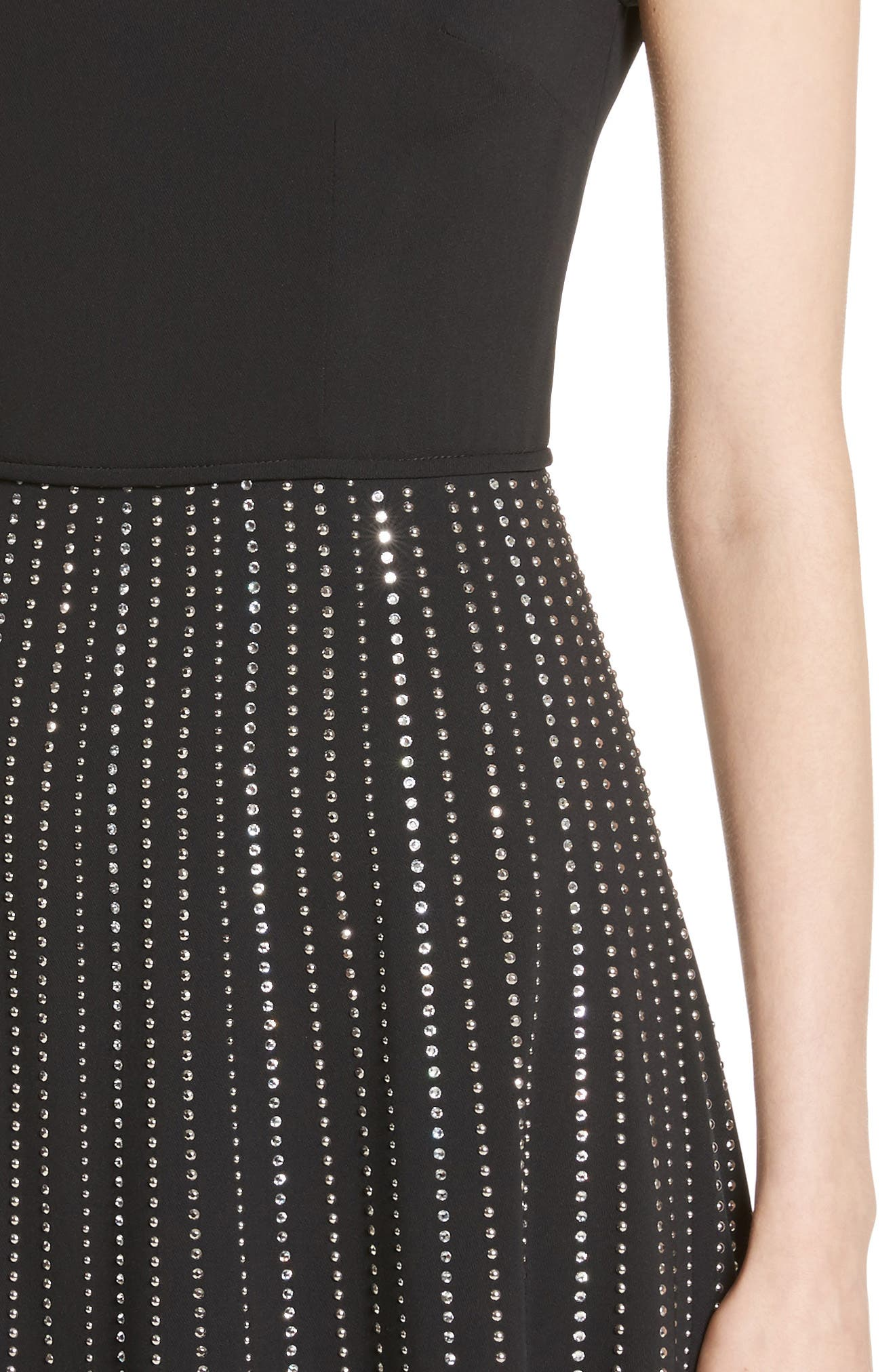 Embellished Stretch Cady Dress,                             Alternate thumbnail 4, color,