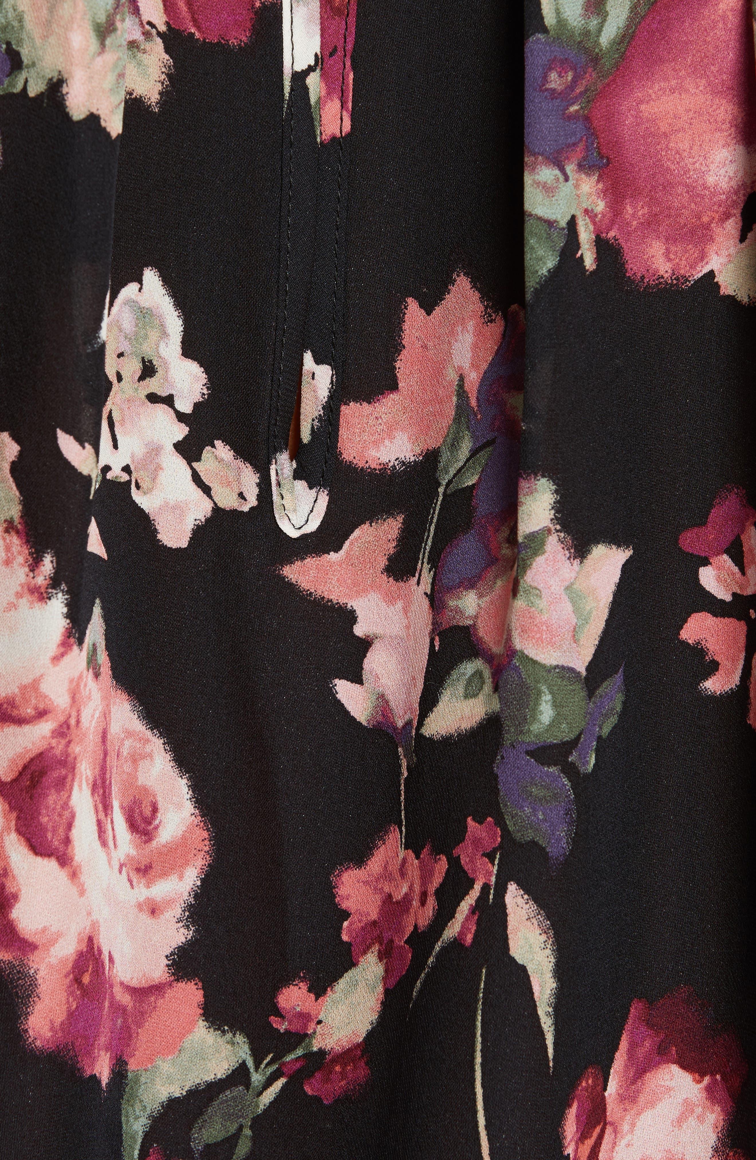Anatase C Floral Print Sleeveless Silk Top,                             Alternate thumbnail 5, color,                             002