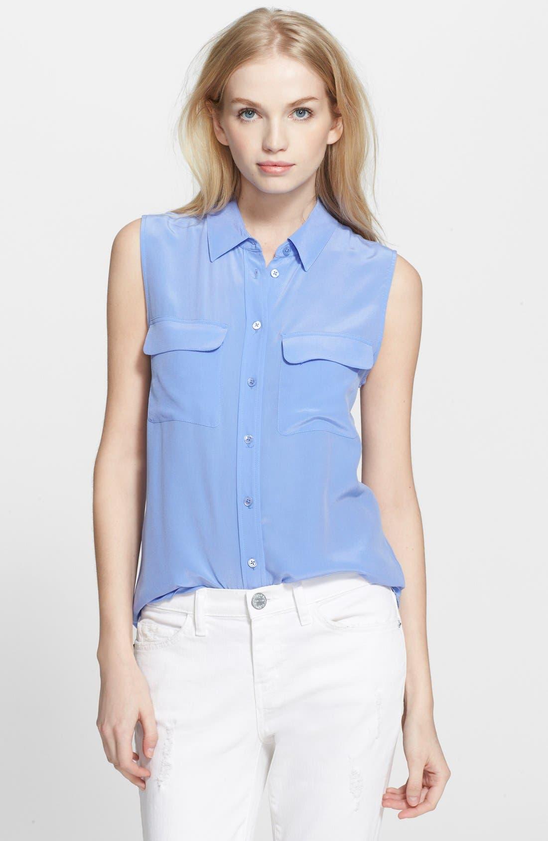 'Slim Signature' Sleeveless Silk Shirt,                             Main thumbnail 20, color,
