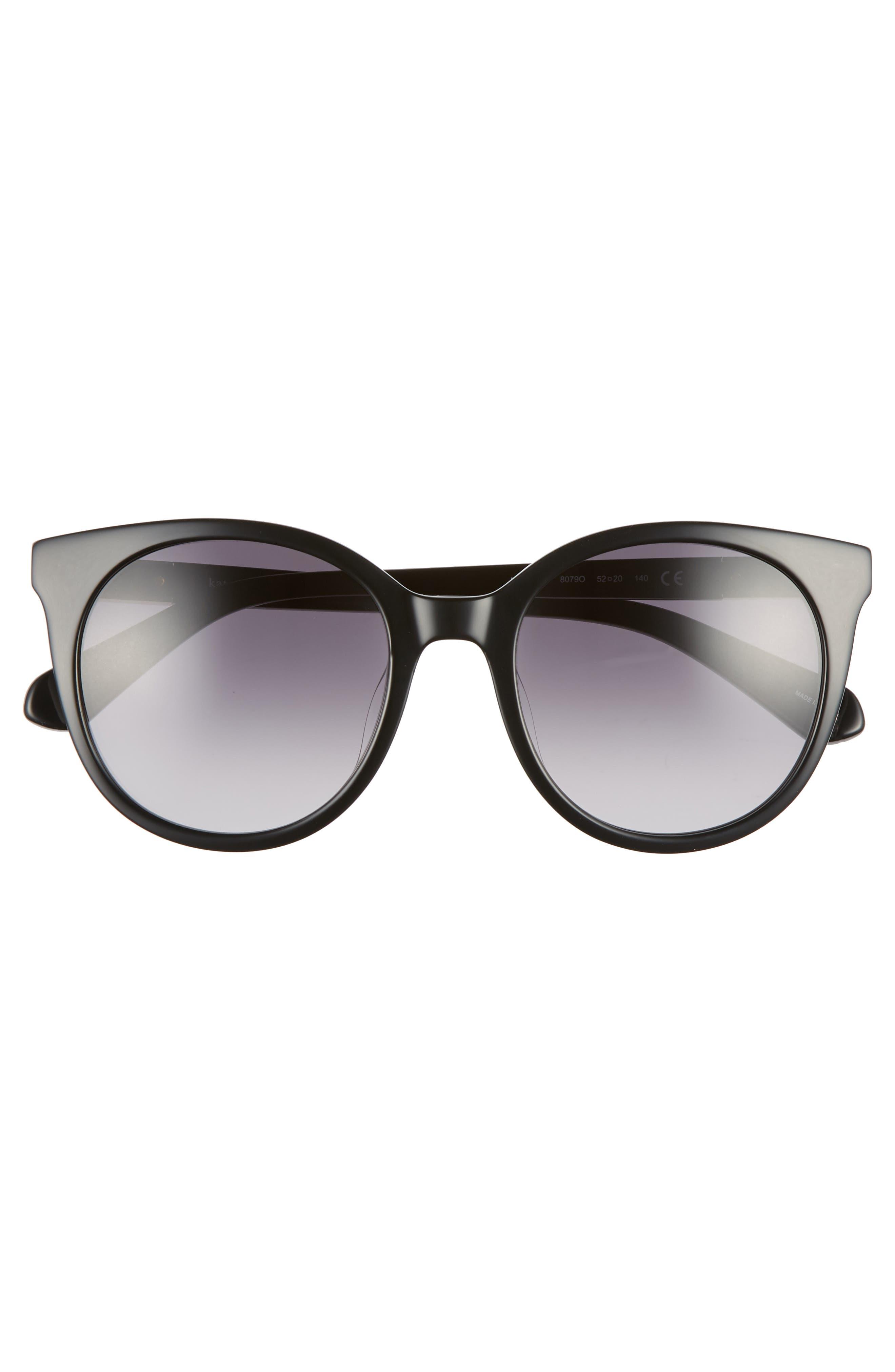 akayla 52mm cat eye sunglasses,                             Alternate thumbnail 3, color,                             BLACK