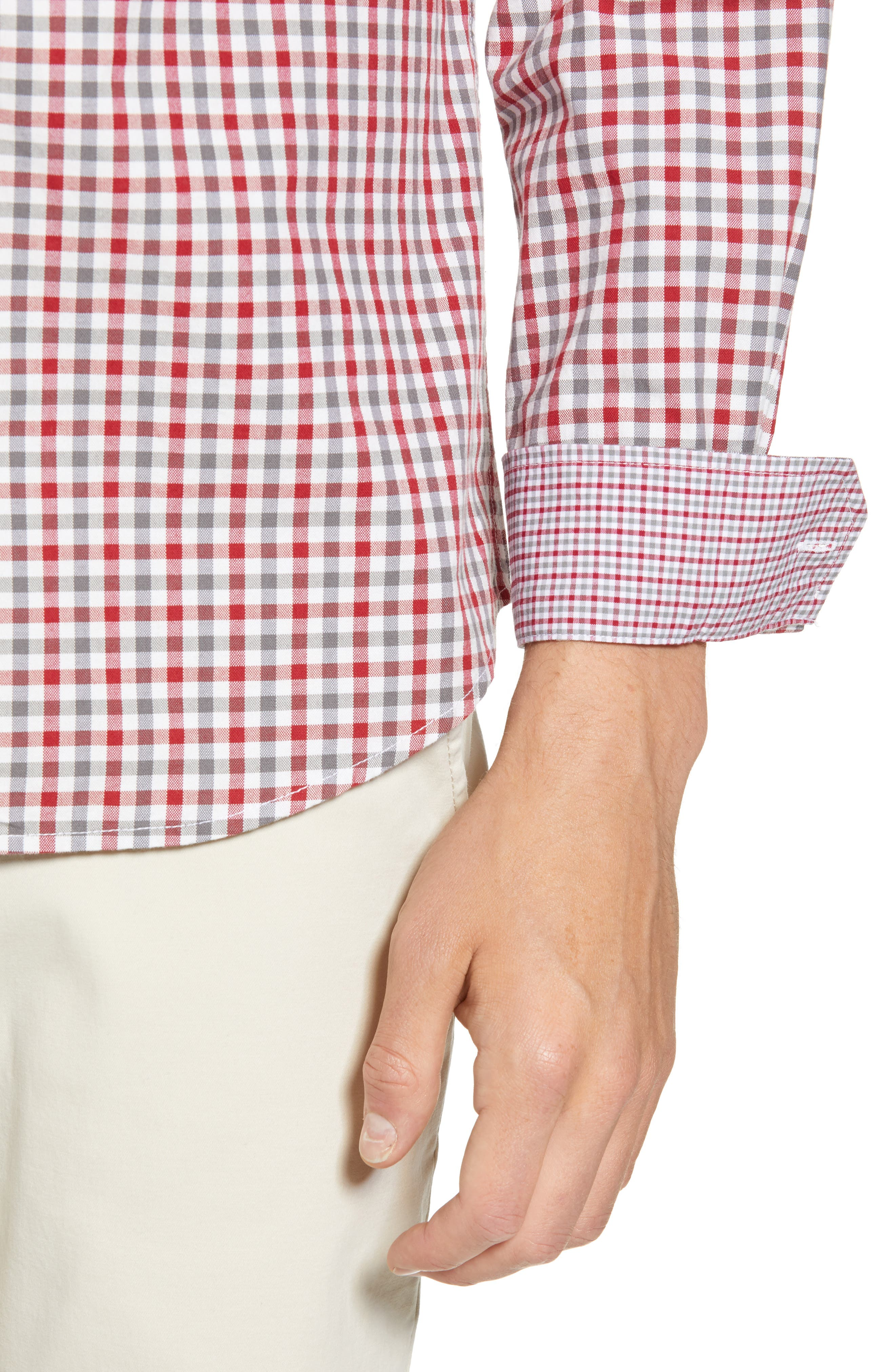 Mod Fit Gingham Woven Shirt,                             Alternate thumbnail 4, color,                             OFF WHITE