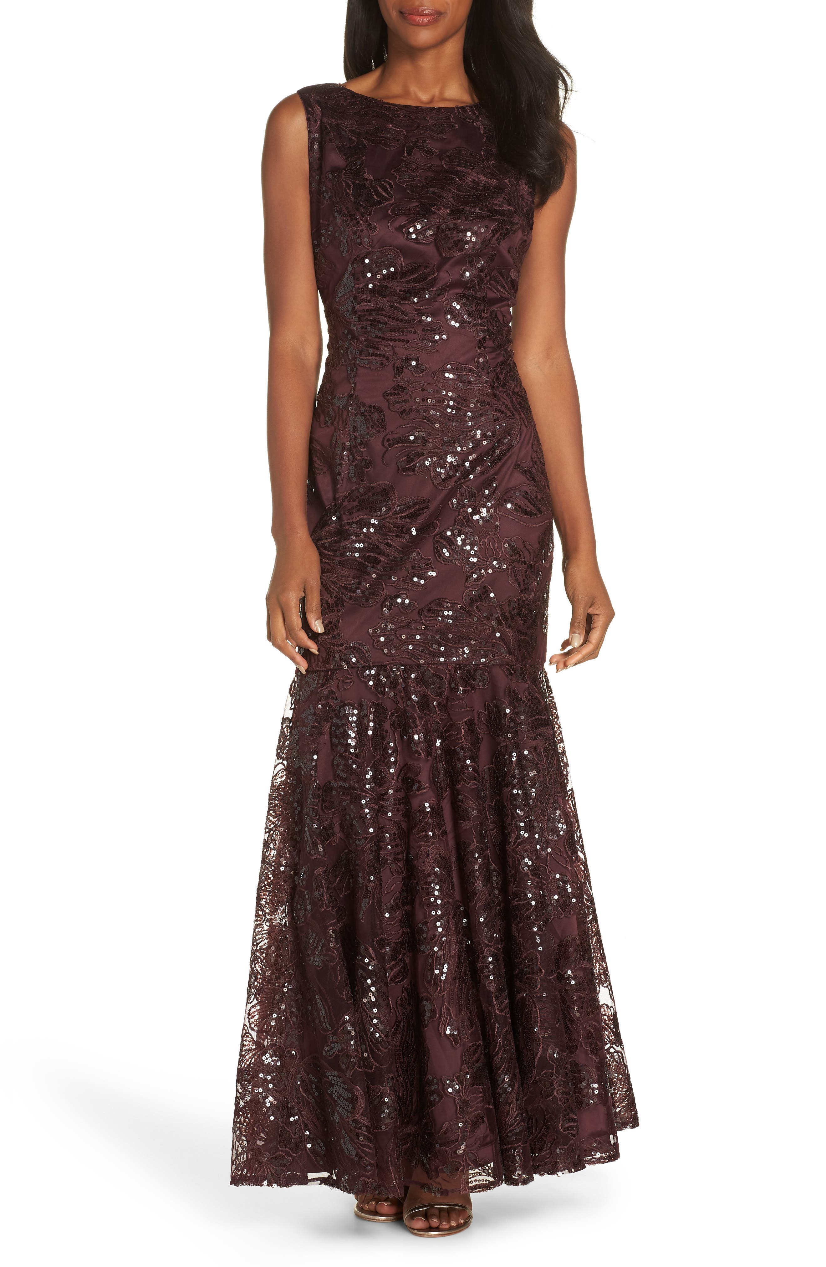 Embroidered Sequin Gown,                             Main thumbnail 1, color,                             BURGUNDY