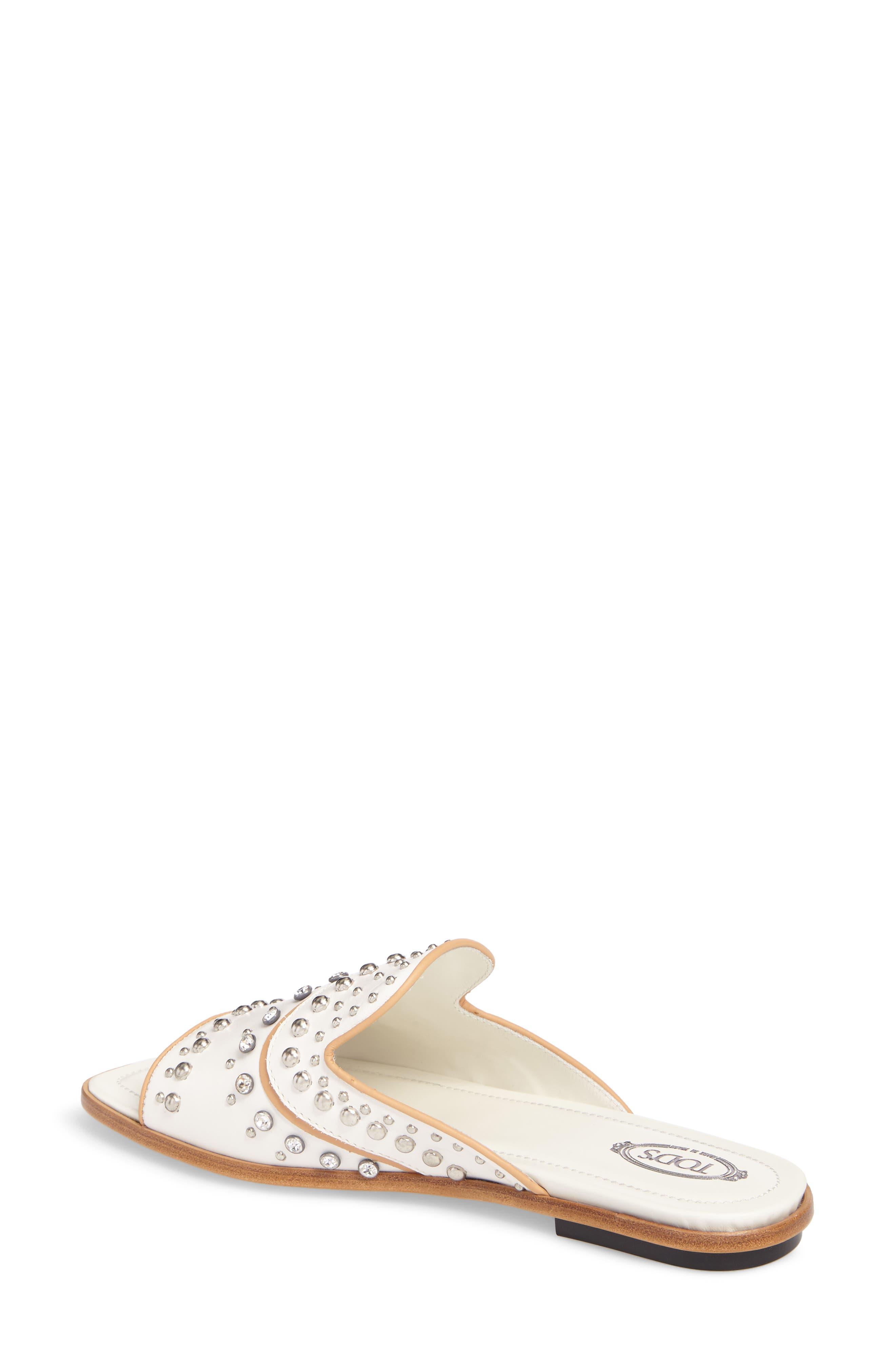 TOD'S,                             Crystal Embellished Loafer Mule,                             Alternate thumbnail 2, color,                             100