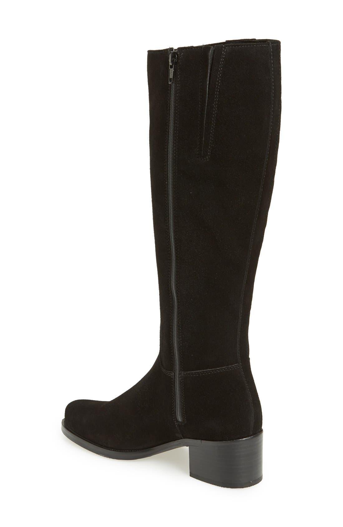 'Polly' Waterproof Knee High Boot,                             Alternate thumbnail 2, color,                             BLACK SUEDE
