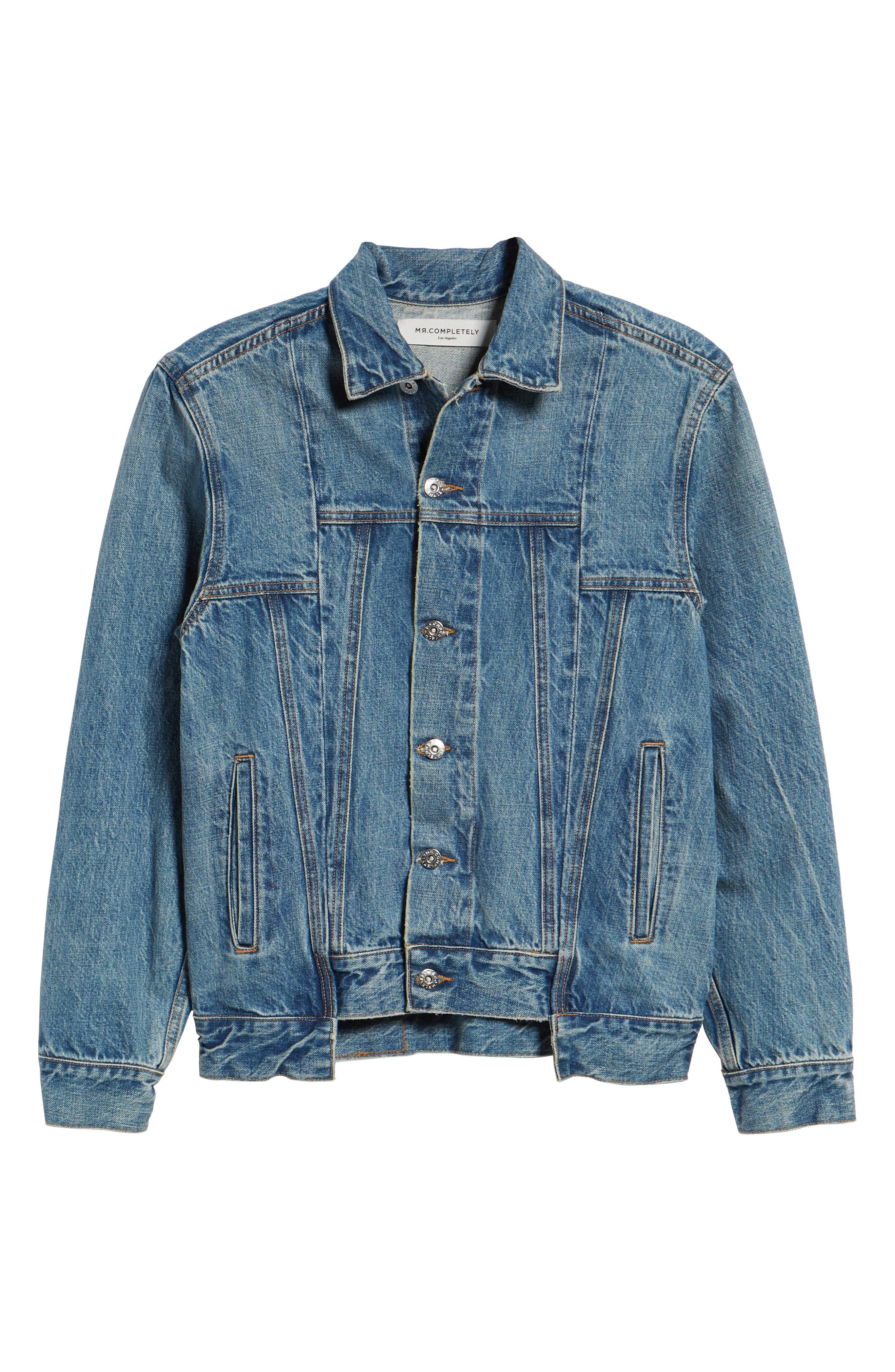 Slim Fit Denim Jacket,                             Alternate thumbnail 6, color,                             WASHED