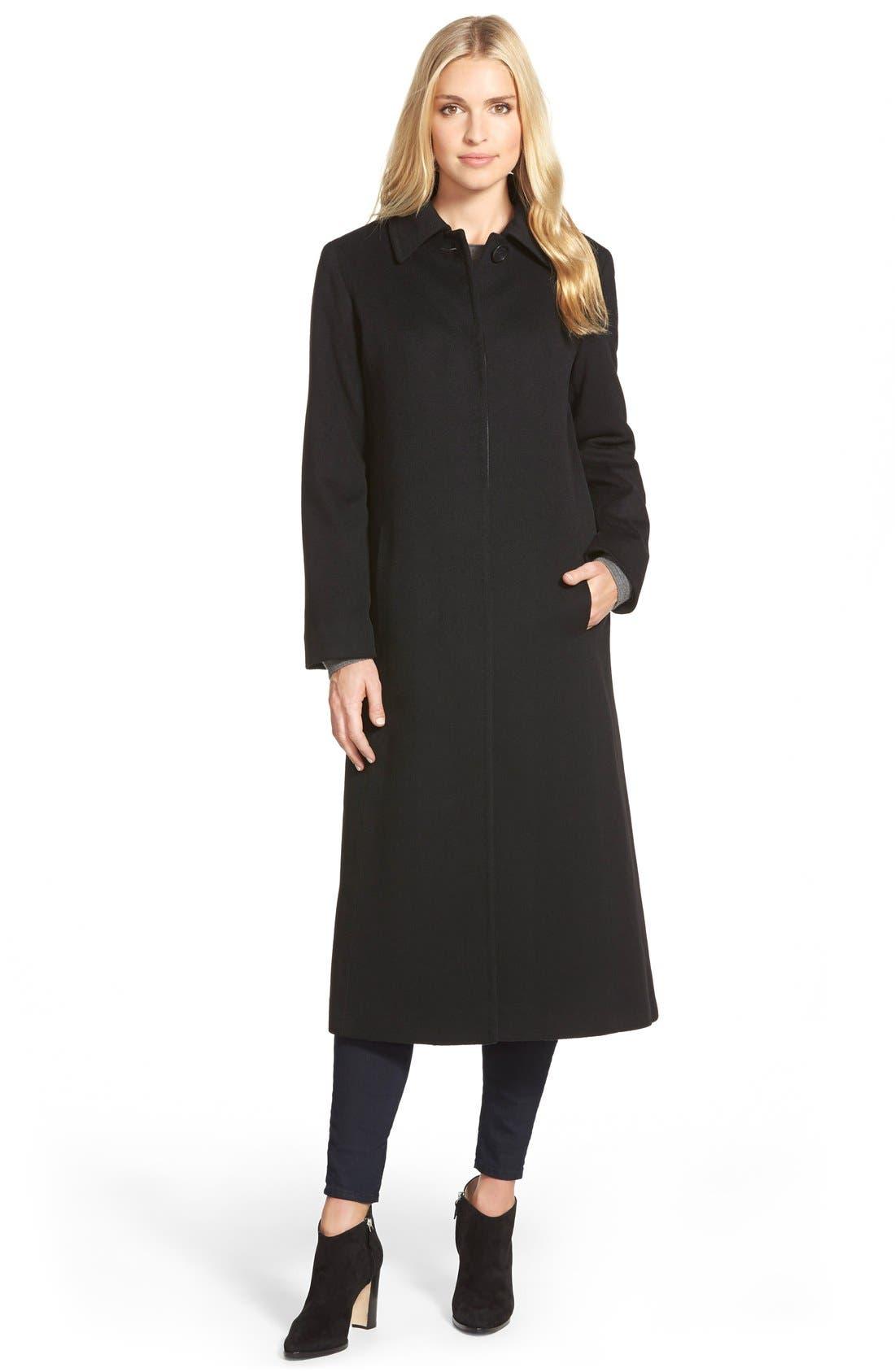 Point Collar Long Cashmere Coat,                         Main,                         color, 001