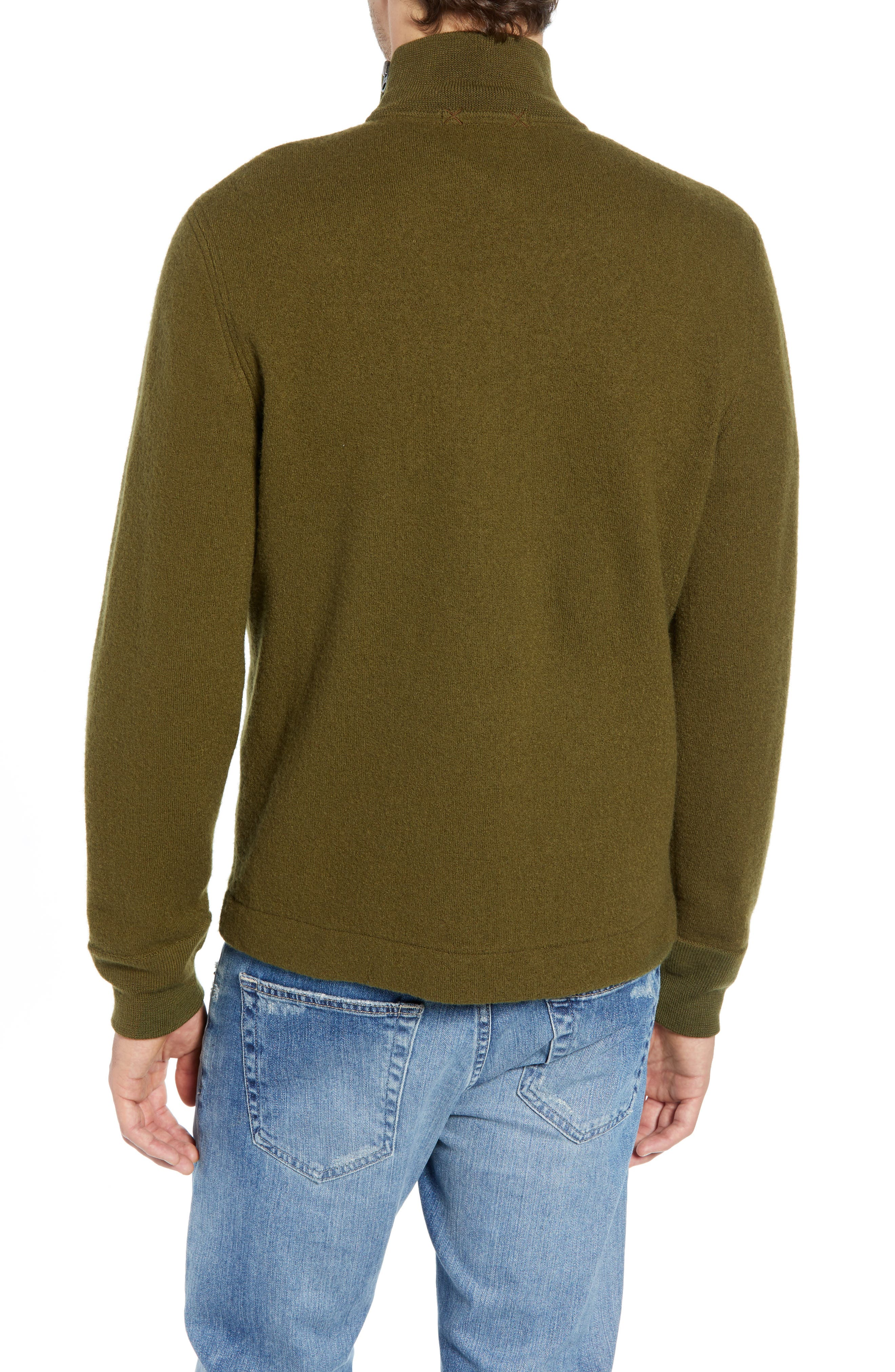 Wallace & Barnes Felted Merino Wool Mock Neck Pullover,                             Alternate thumbnail 2, color,                             ORCHARD GREEN