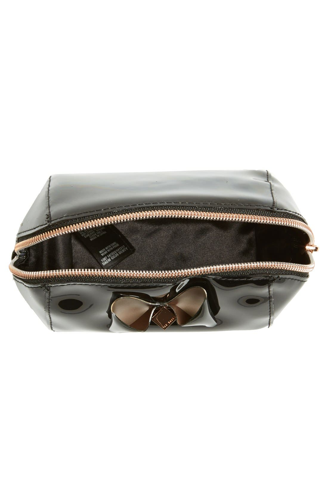 'Bow Trapeze - Small Washbag' Cosmetics Case,                             Alternate thumbnail 3, color,