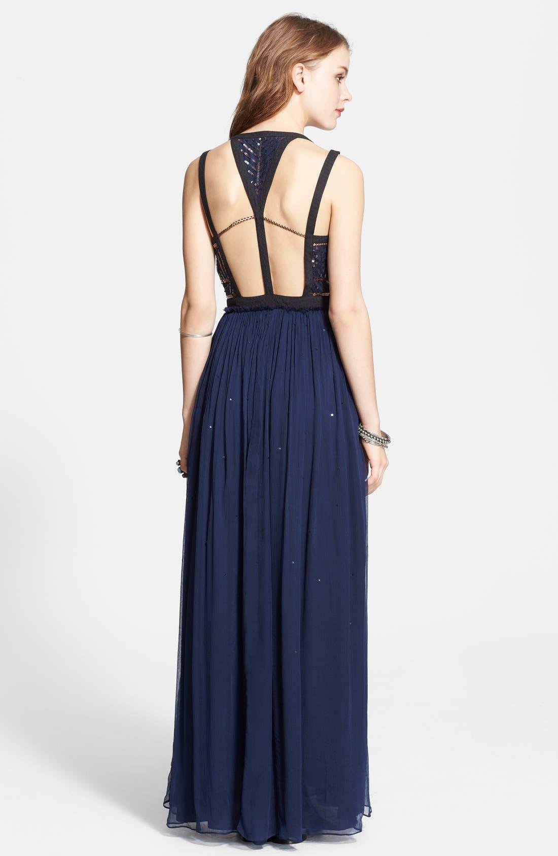 Embellished Chiffon Maxi Dress,                             Alternate thumbnail 3, color,                             409