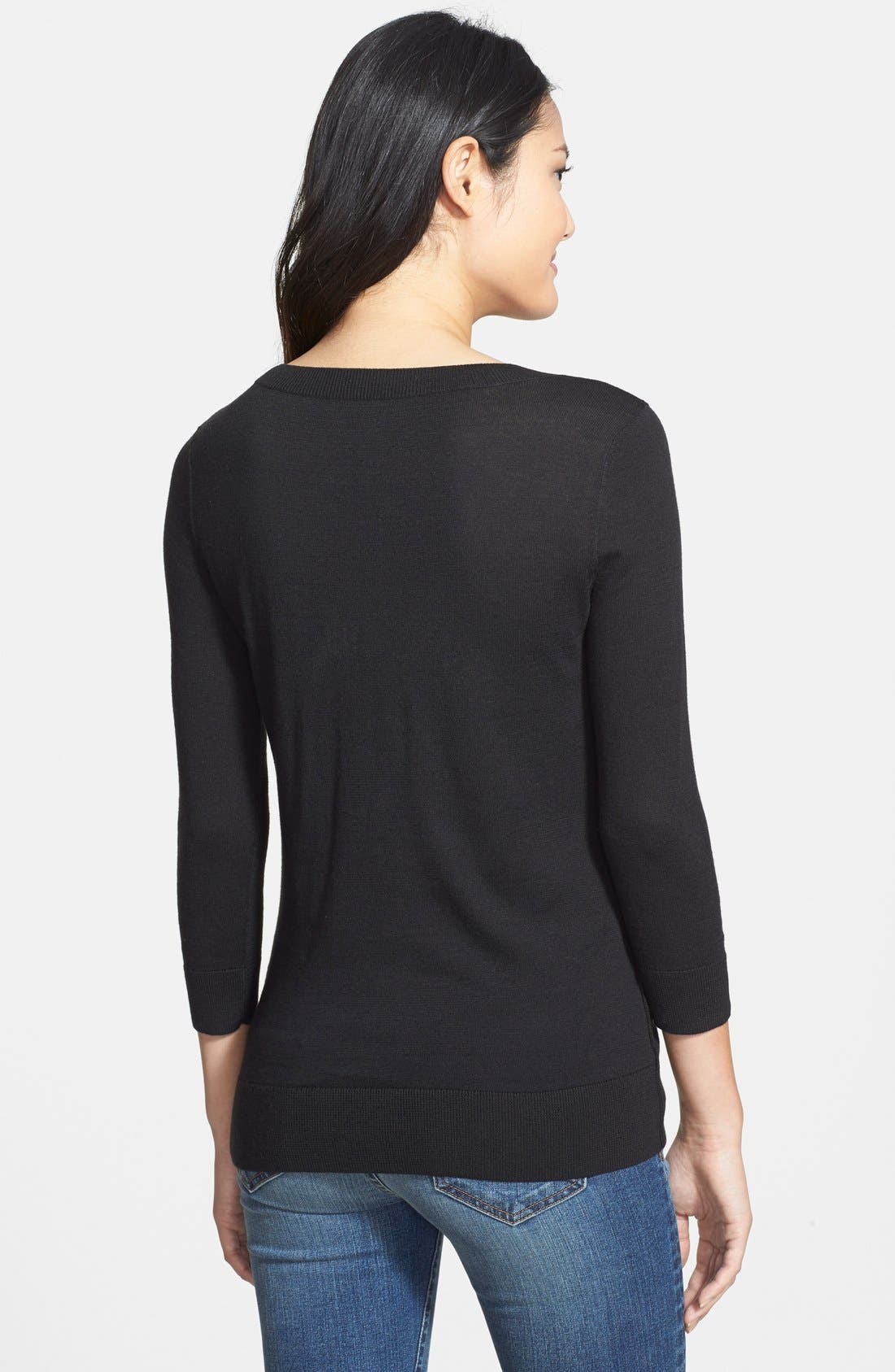 HALOGEN<SUP>®</SUP>,                             Three Quarter Sleeve Sweater,                             Alternate thumbnail 2, color,                             001