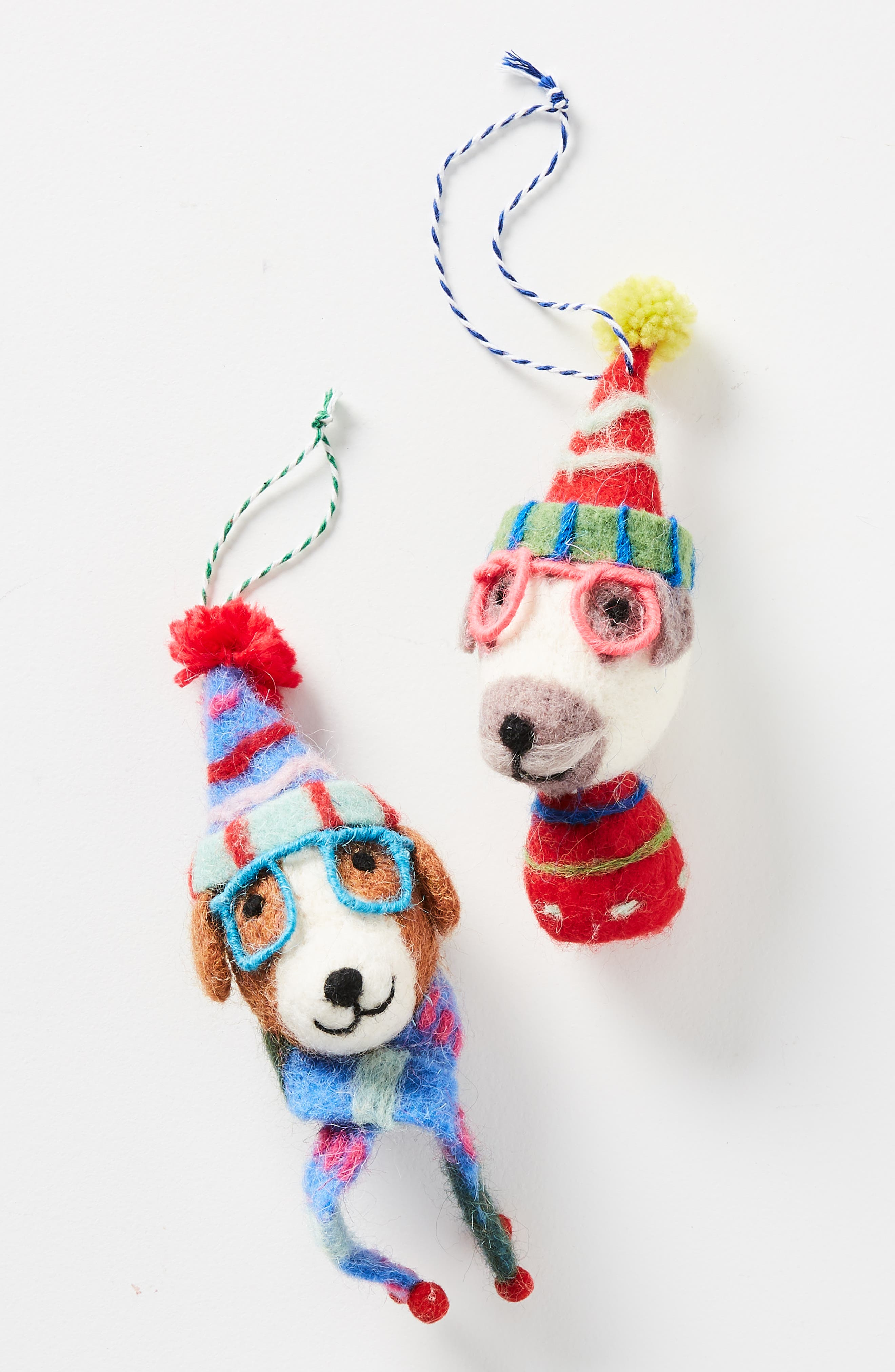 ANTHROPOLOGIE Decked Out Dog Felt Ornament, Main, color, 200