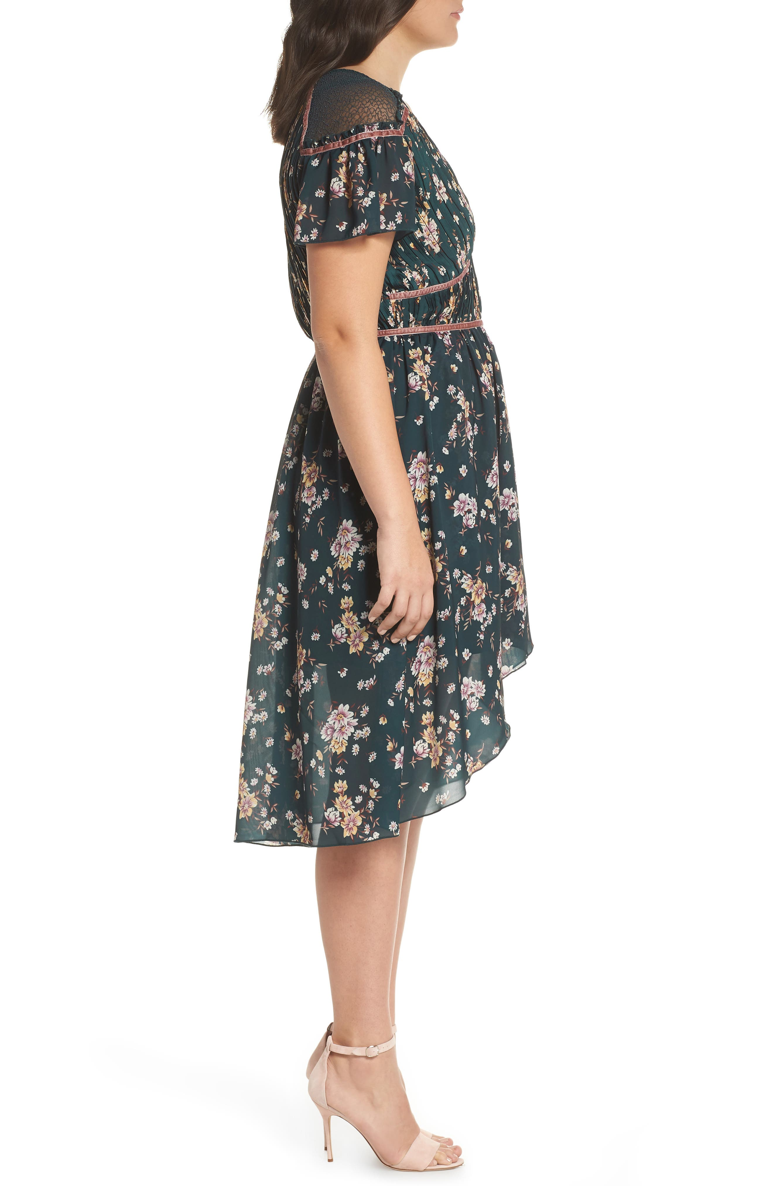 Floral Pleat & Lace Mix Dress,                             Alternate thumbnail 10, color,                             GREEN BRANCHING LILIES