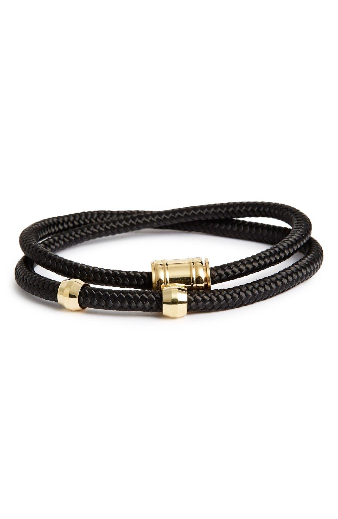 Double Wrap Rope Bracelet,                         Main,                         color, SOLID BLACK