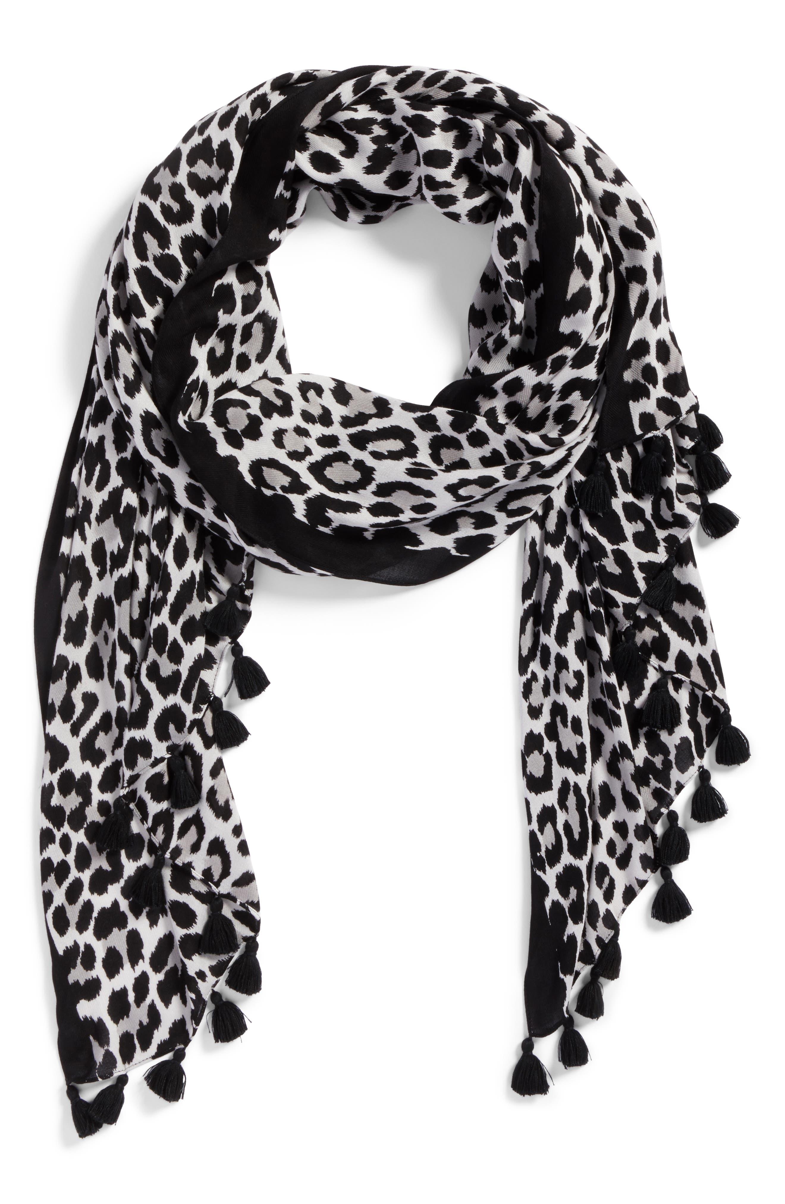 classic leopard print scarf,                             Alternate thumbnail 2, color,                             020