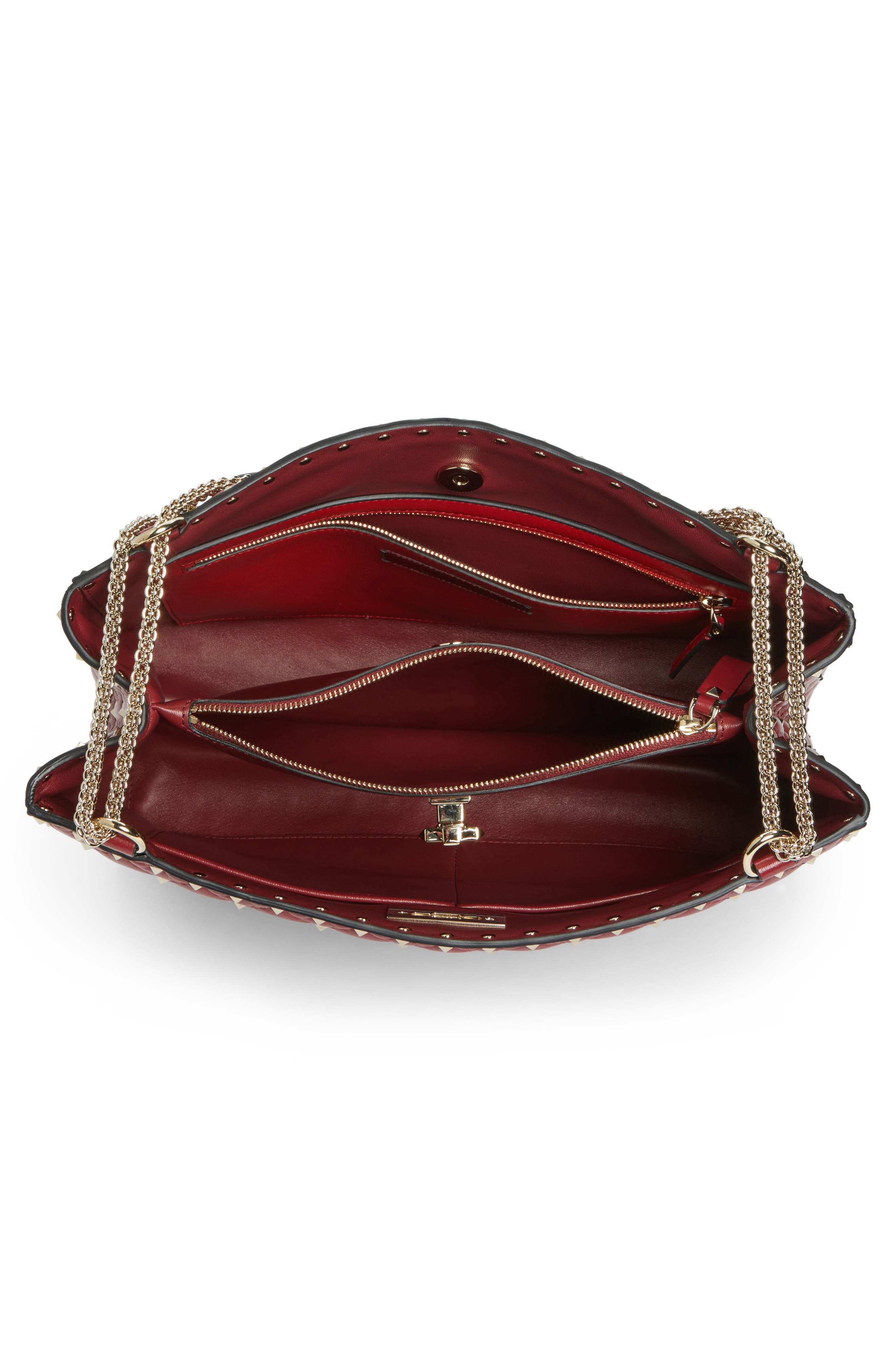Rockstud Spike Quilted Lambskin Leather Shoulder Bag,                             Alternate thumbnail 4, color,                             ROSSO