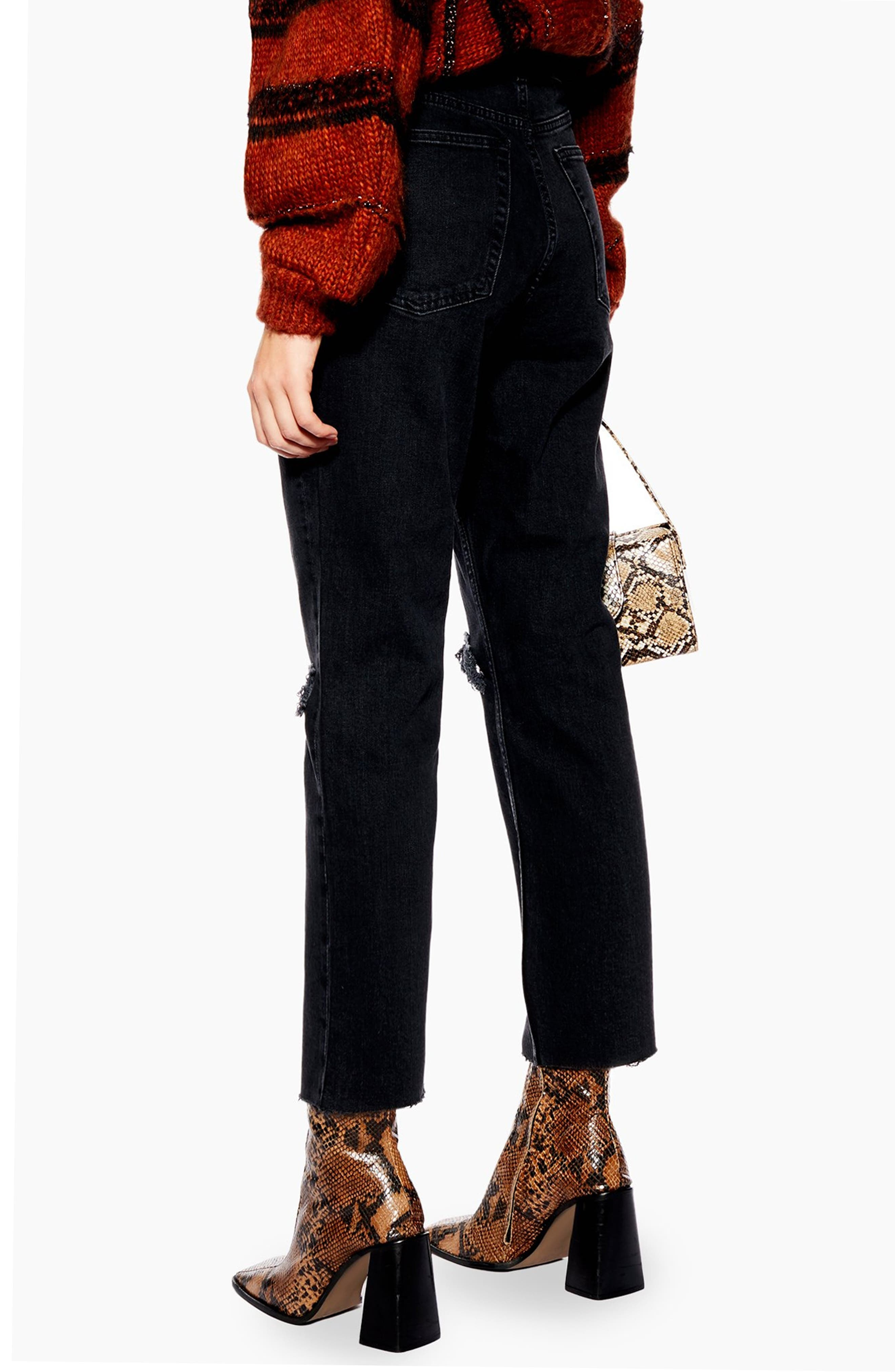 TOPSHOP,                             Ripped Straight Leg Jeans,                             Alternate thumbnail 2, color,                             WASHED BLACK